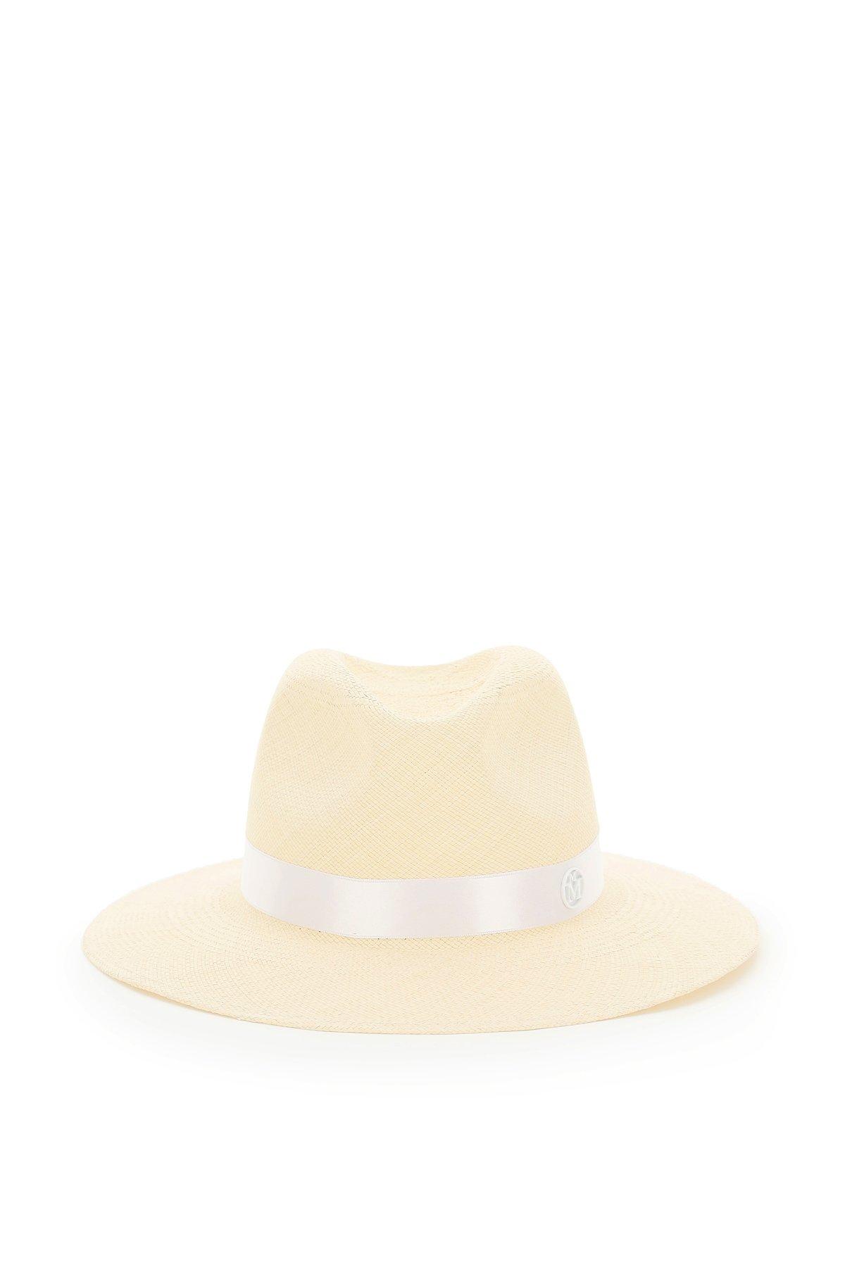 Maison michel cappello fedora in paglia henrietta pearls