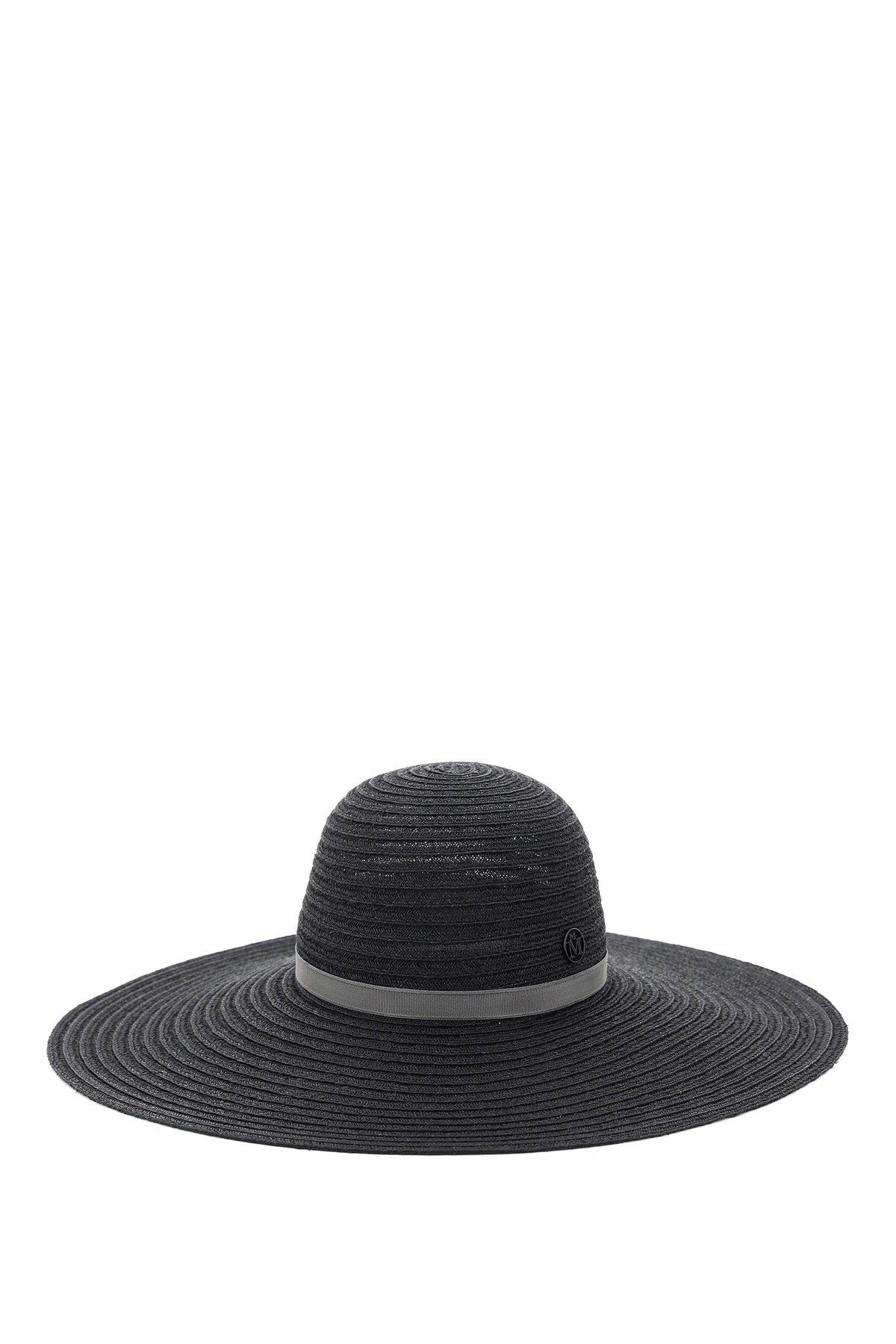 Maison michel cappello in canapa intrecciata blanche