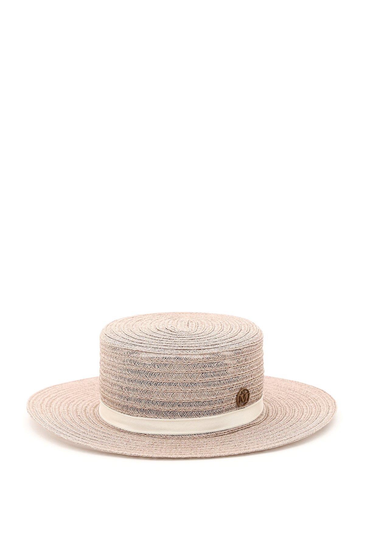 Maison michel cappello canotier in canapa intrecciata kiki