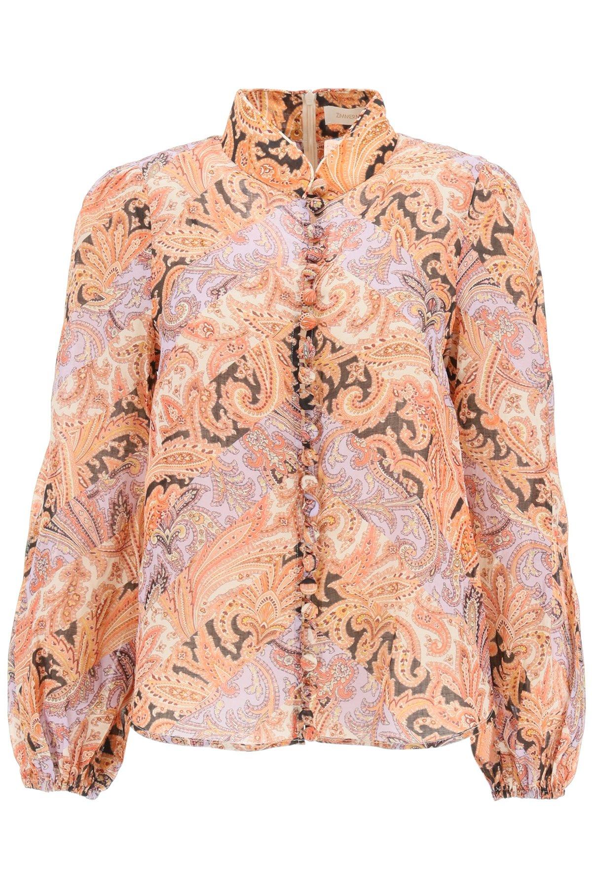 Zimmermann camicia in ramie botanica chevron paisley