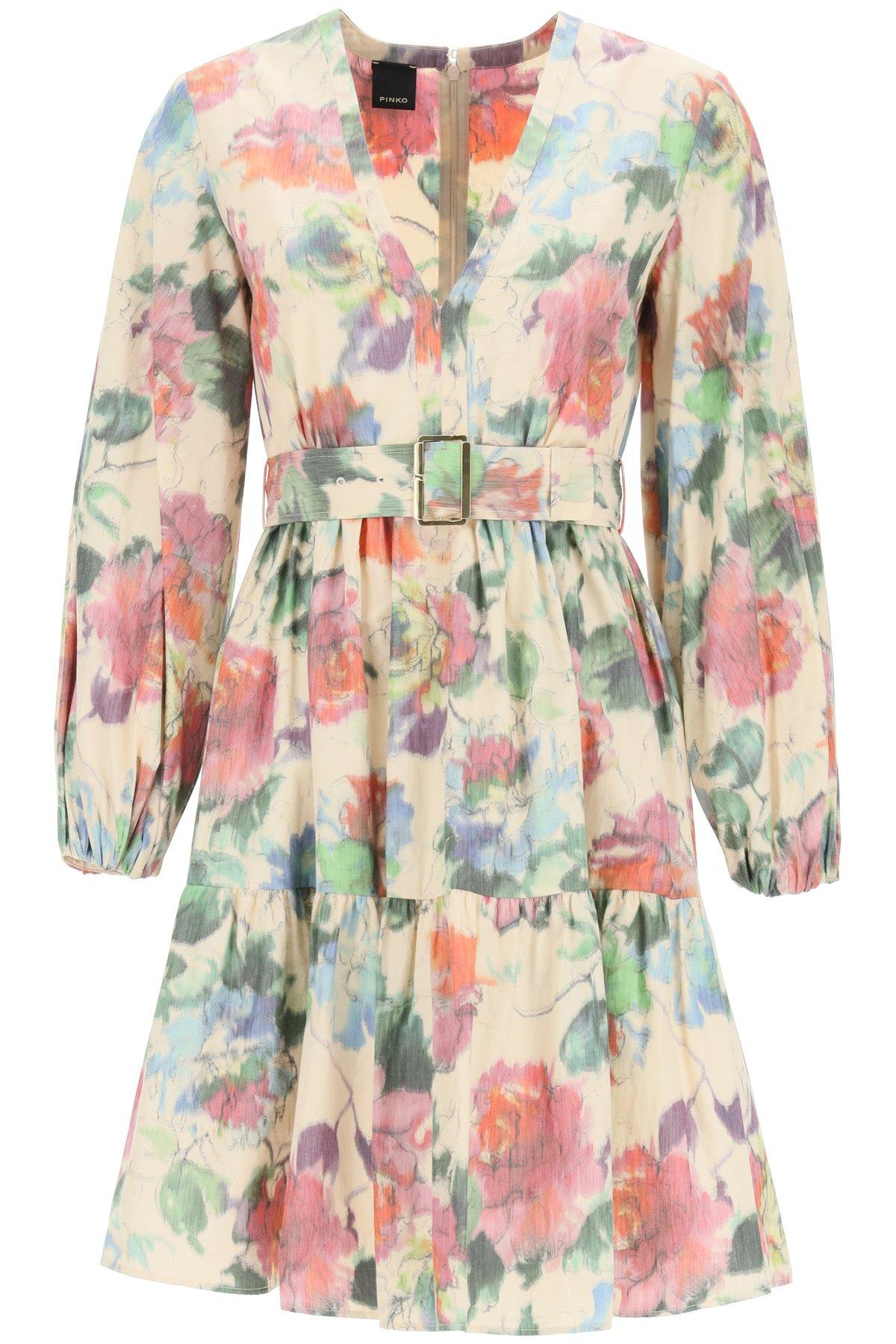 Pinko abito floreale in taffetà