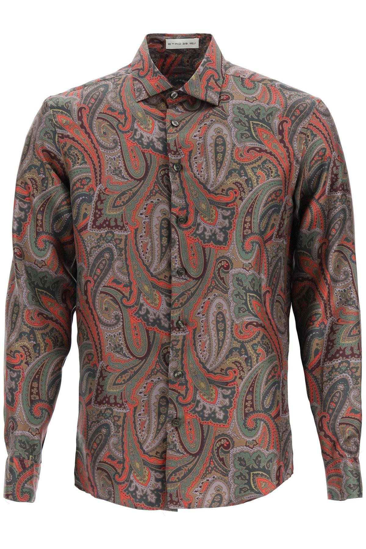 Etro camicia seta stampa paisley floreale