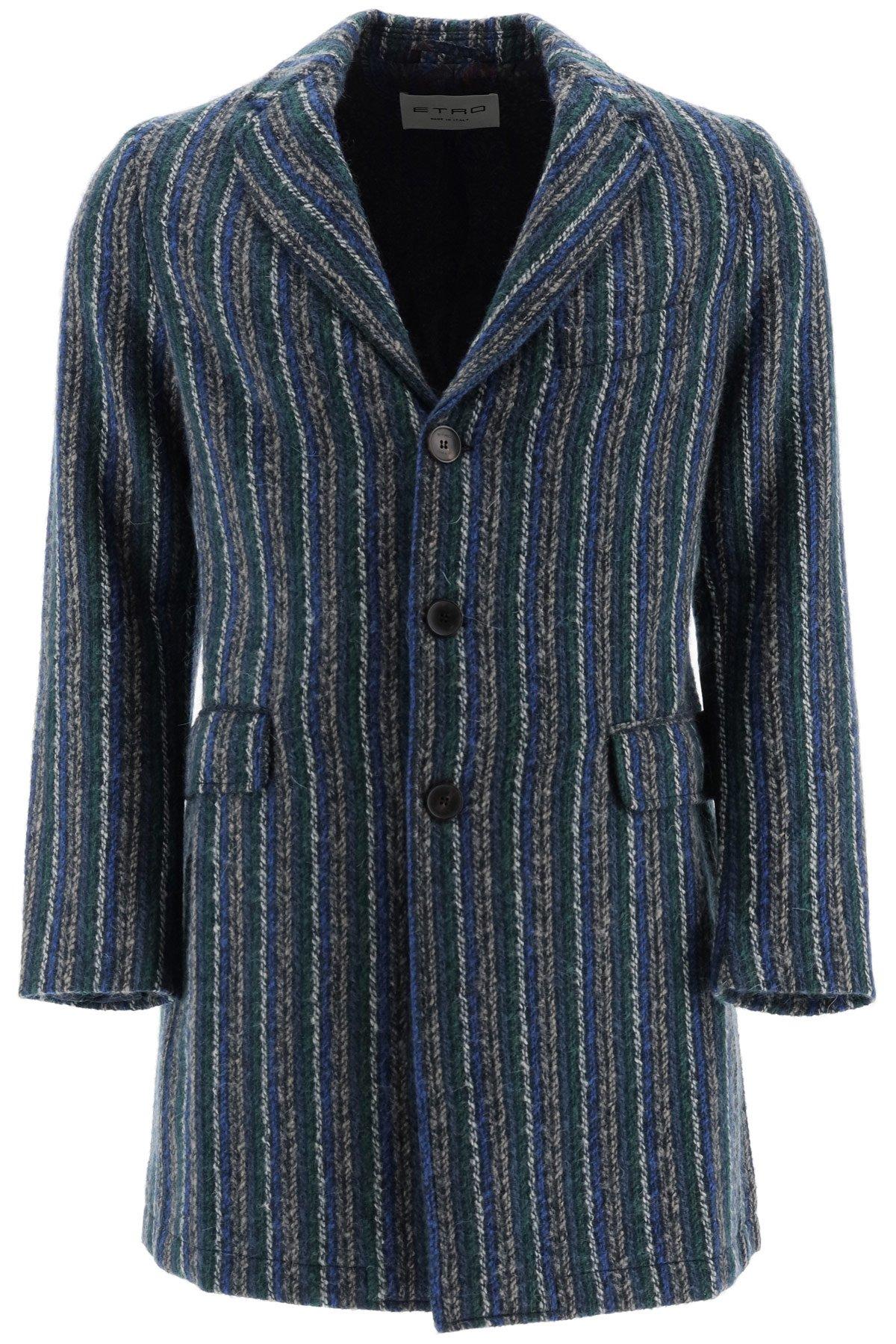 Etro cappotto lana a righe