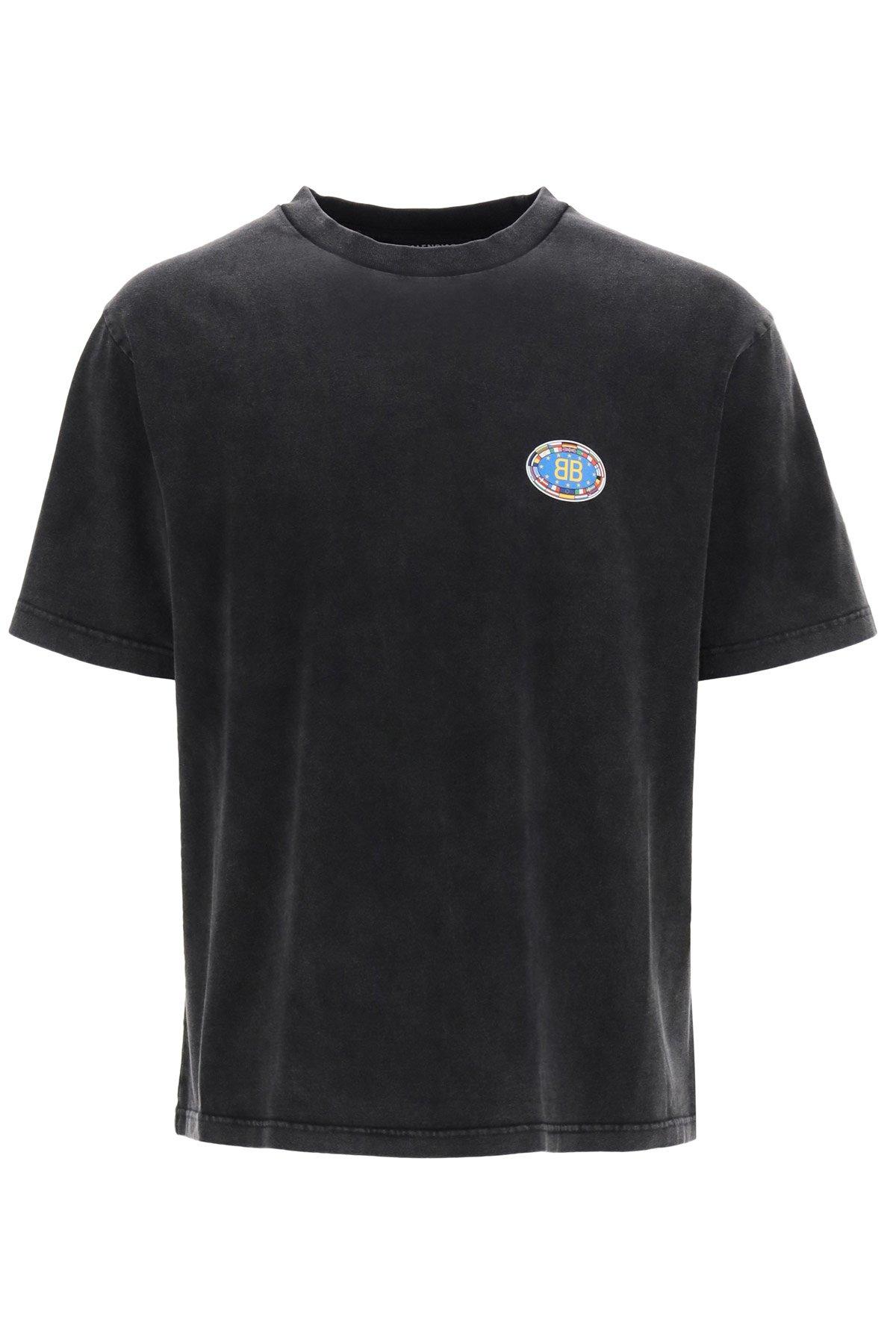 Balenciaga t-shirt logo bb bandiere