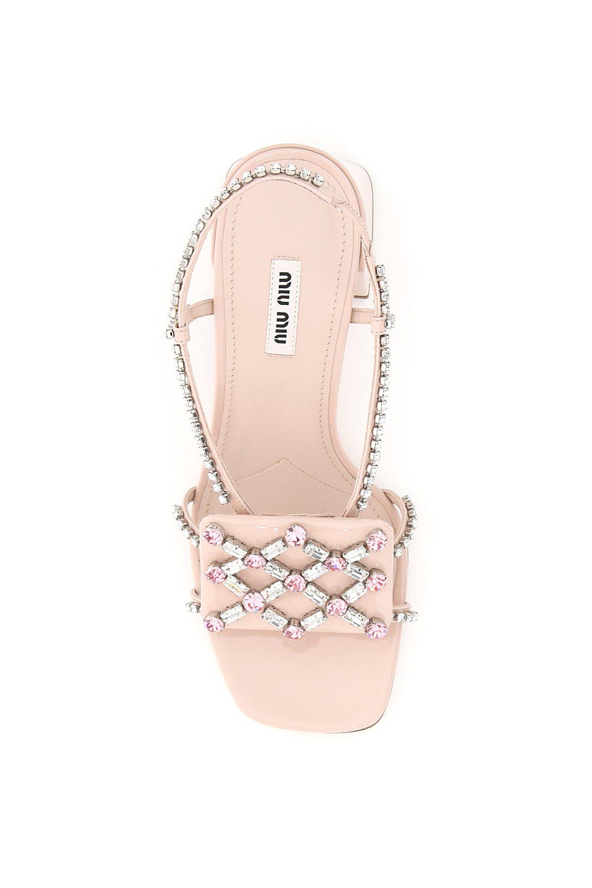 Miu miu sandali ricamo crystal