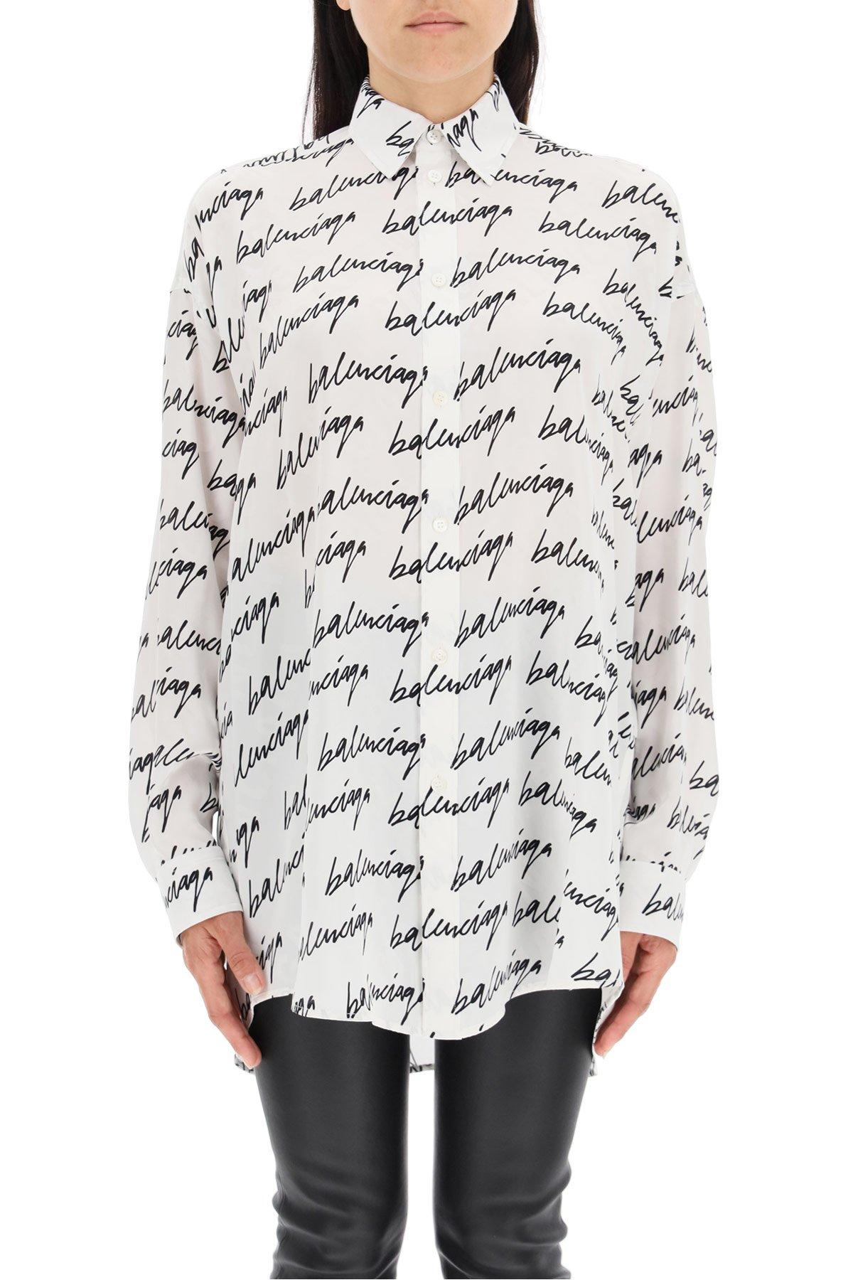 Balenciaga camicia seta logo scribble
