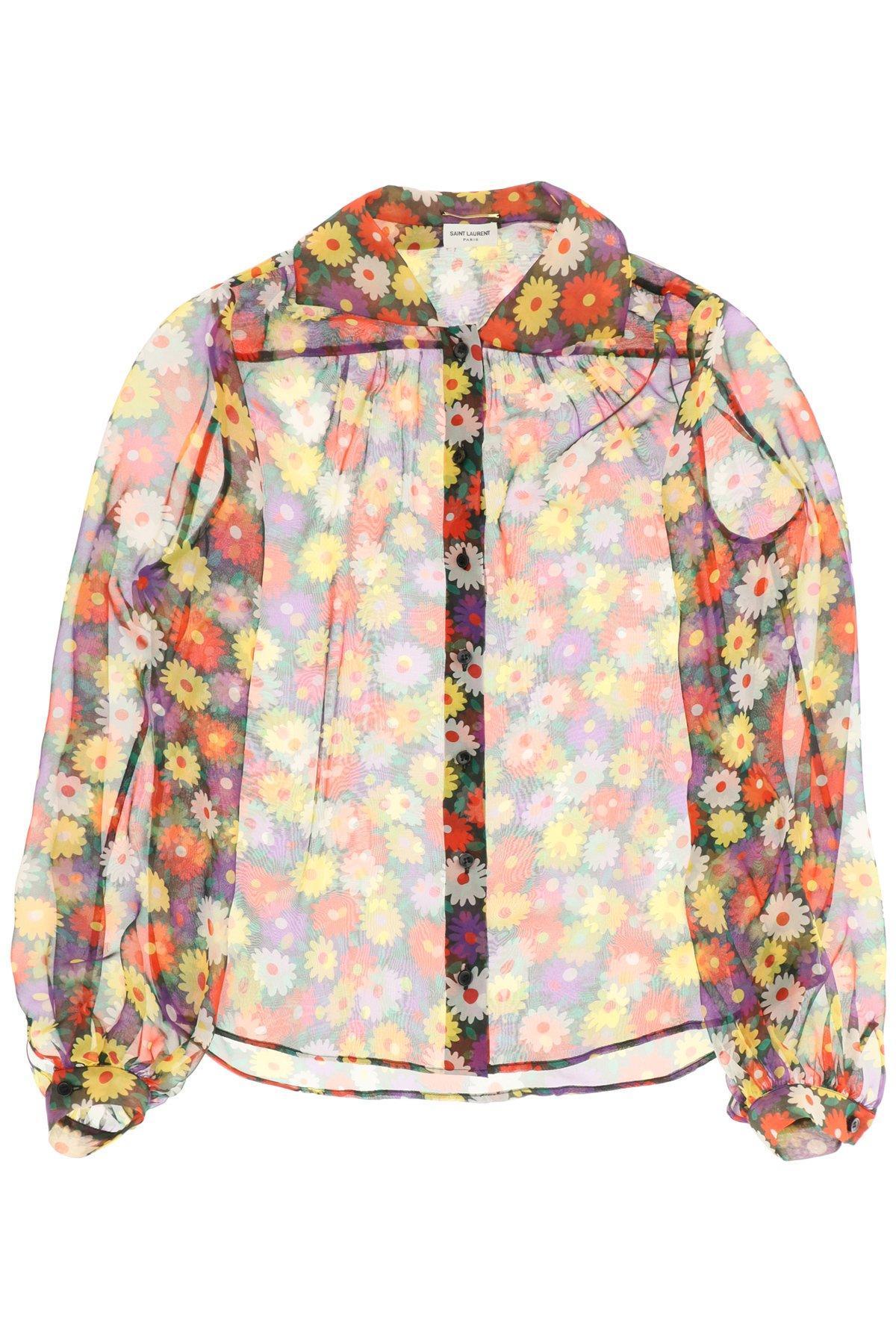 Saint laurent camicia in mousseline stampa fiori