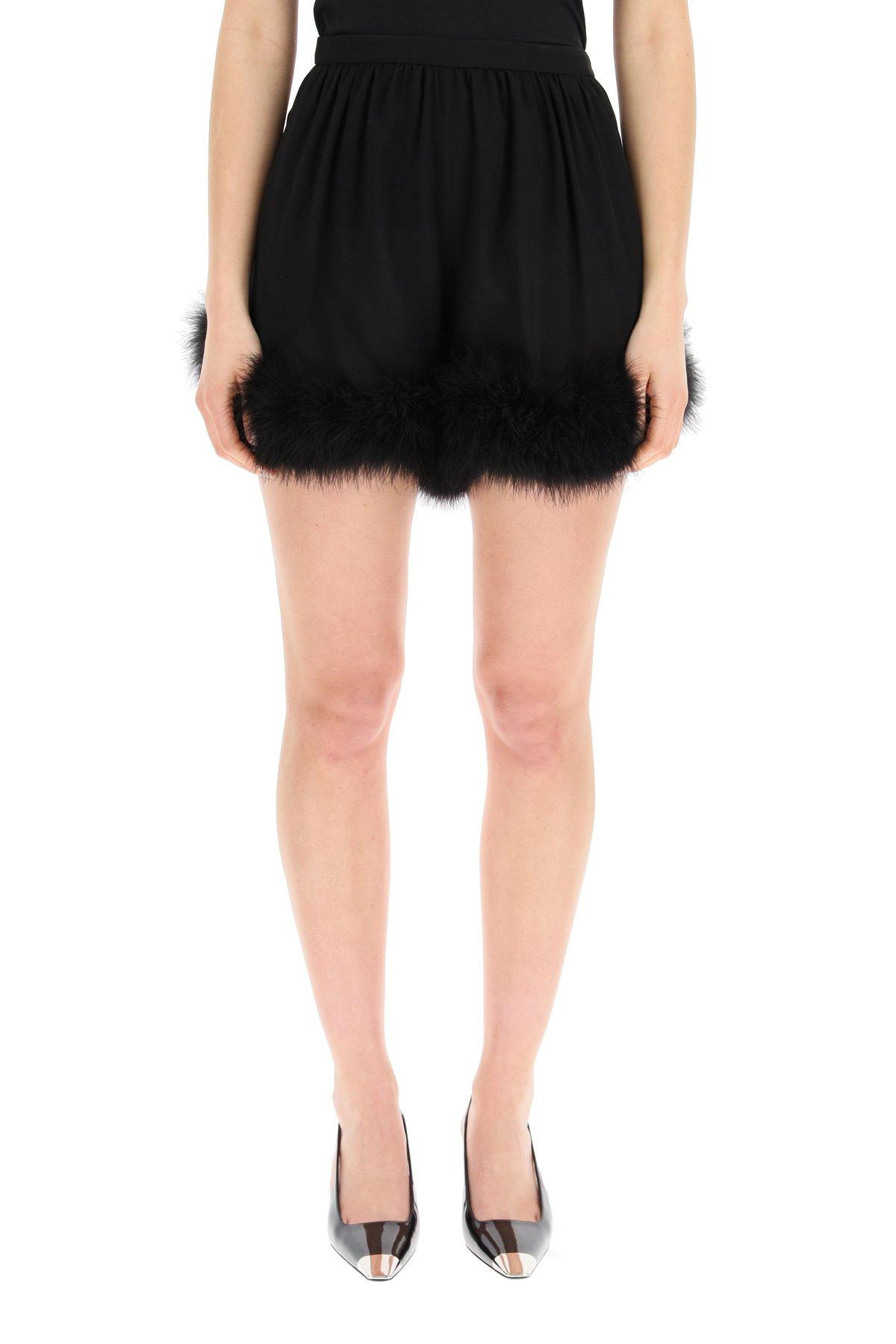 Saint laurent shorts con piume