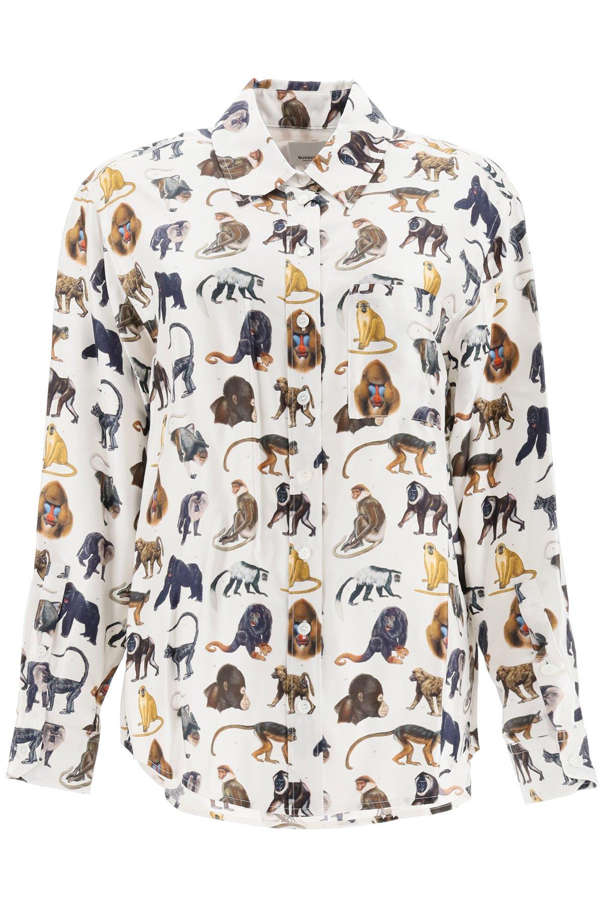 Burberry camicia seta stampa scimmie