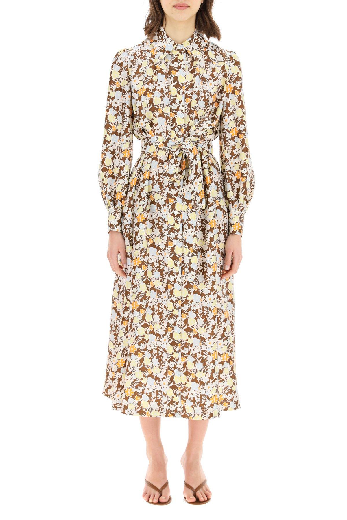 Tory burch abito lungo chemisier in seta floreale