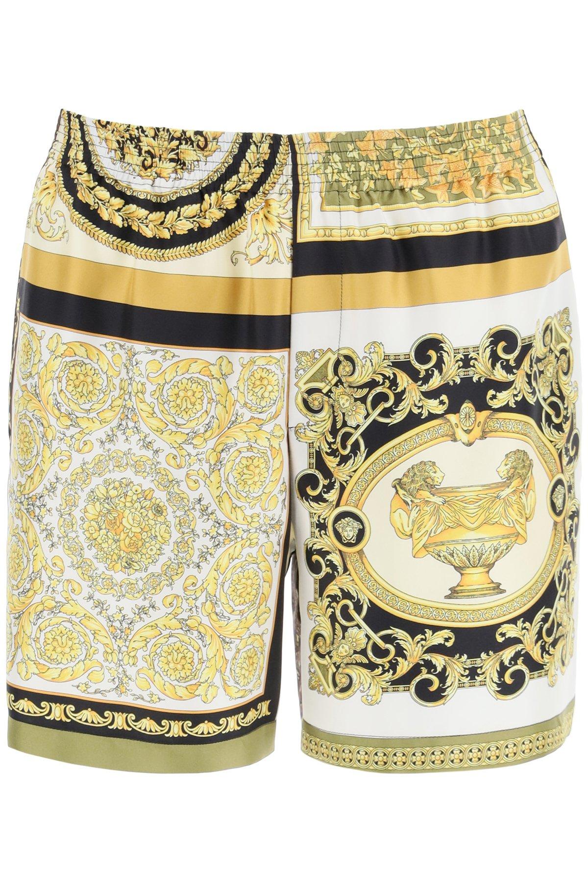 Versace bermuda in seta con stampa barocco mosaic