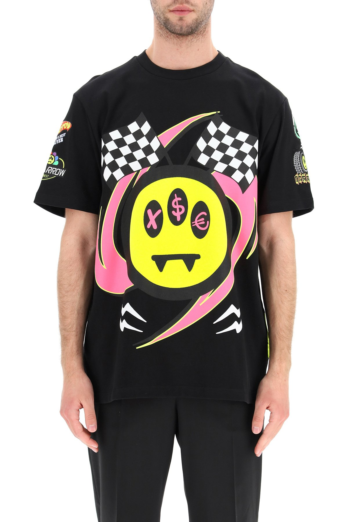 Barrow x sfera ebbasta t-shirt stampata smiley flock
