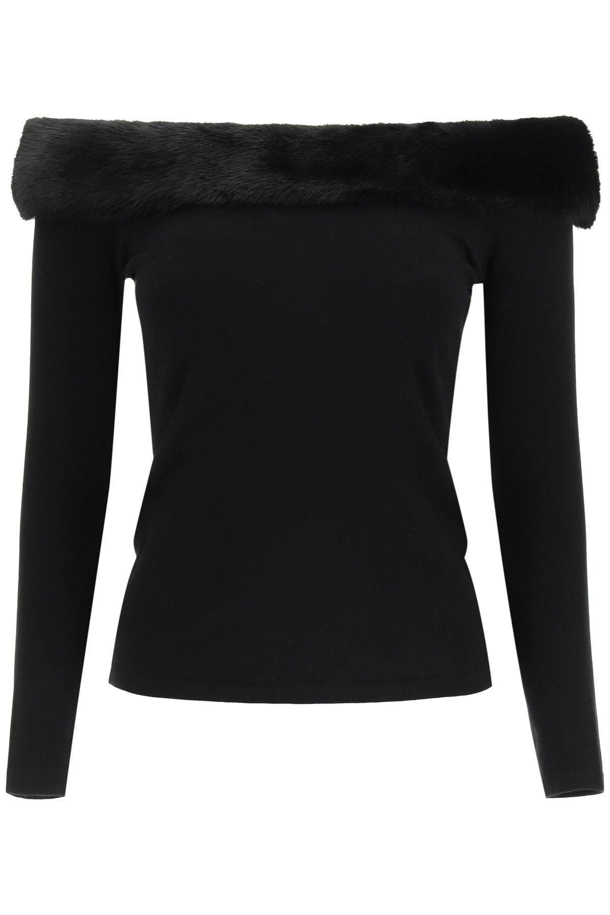 Blumarine maglia con pelliccia di visone