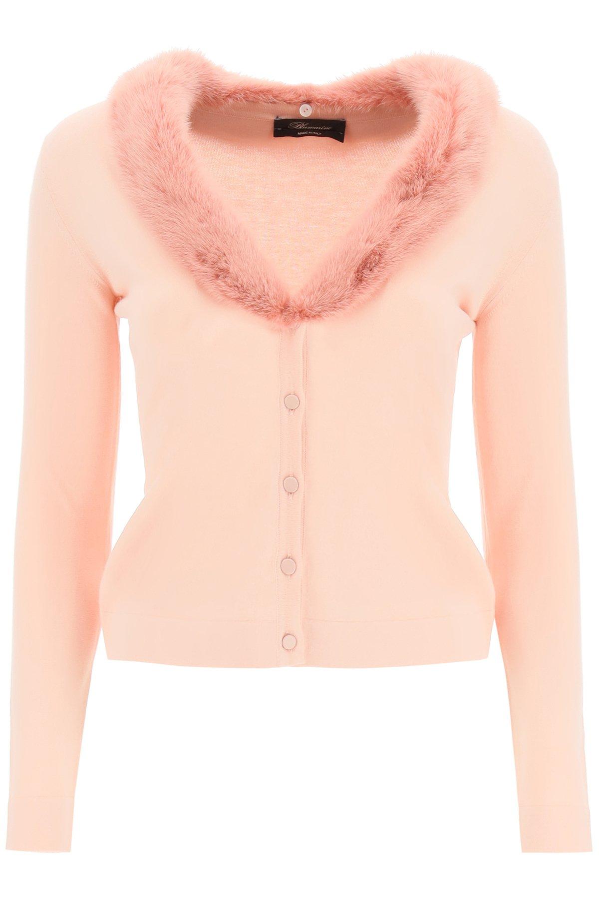 Blumarine cardigan con pelliccia di visone