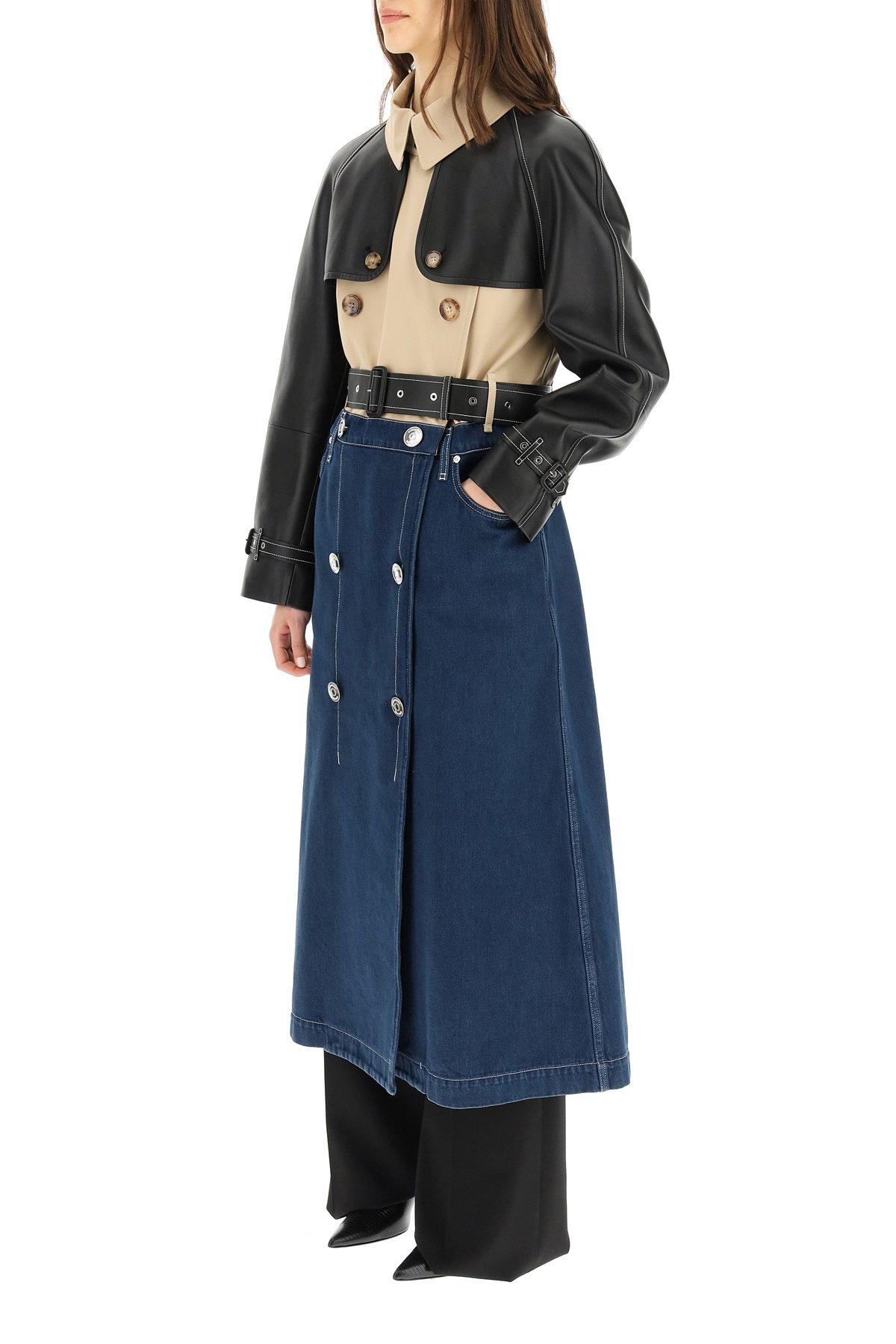 Burberry trench coat in denim con inserti