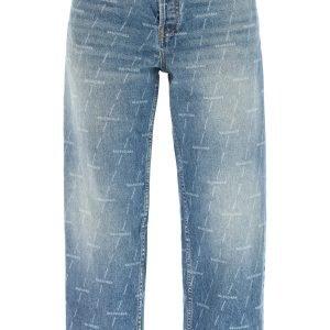 Balenciaga jeans cropped monogram lavorato a laser