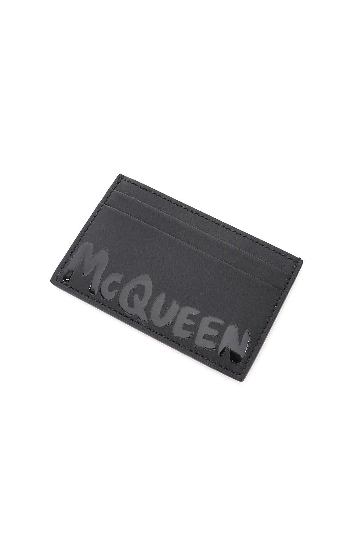 Alexander mcqueen porta carte di credito logo graffiti