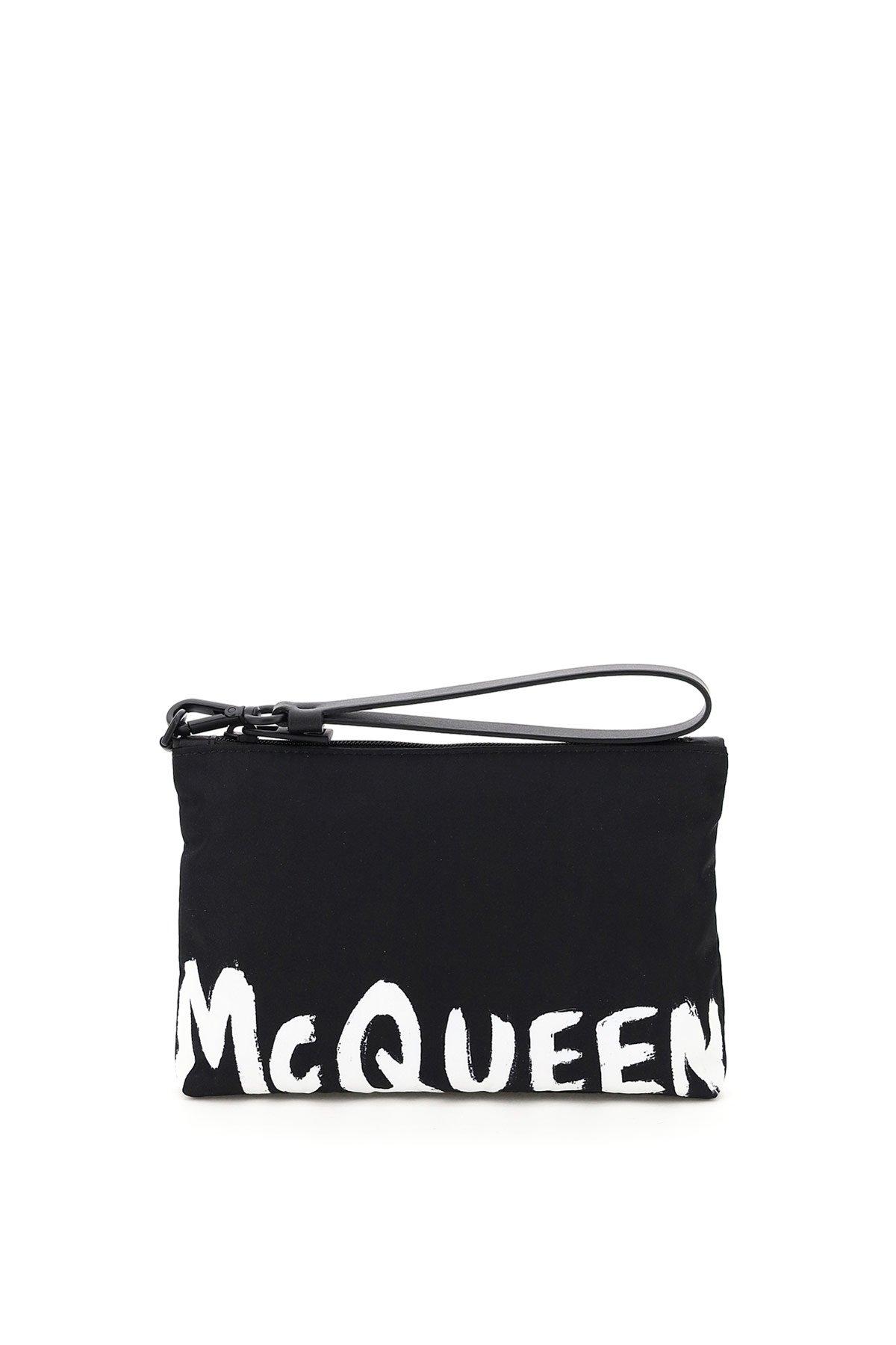 Alexander mcqueen pouch travel logo graffiti