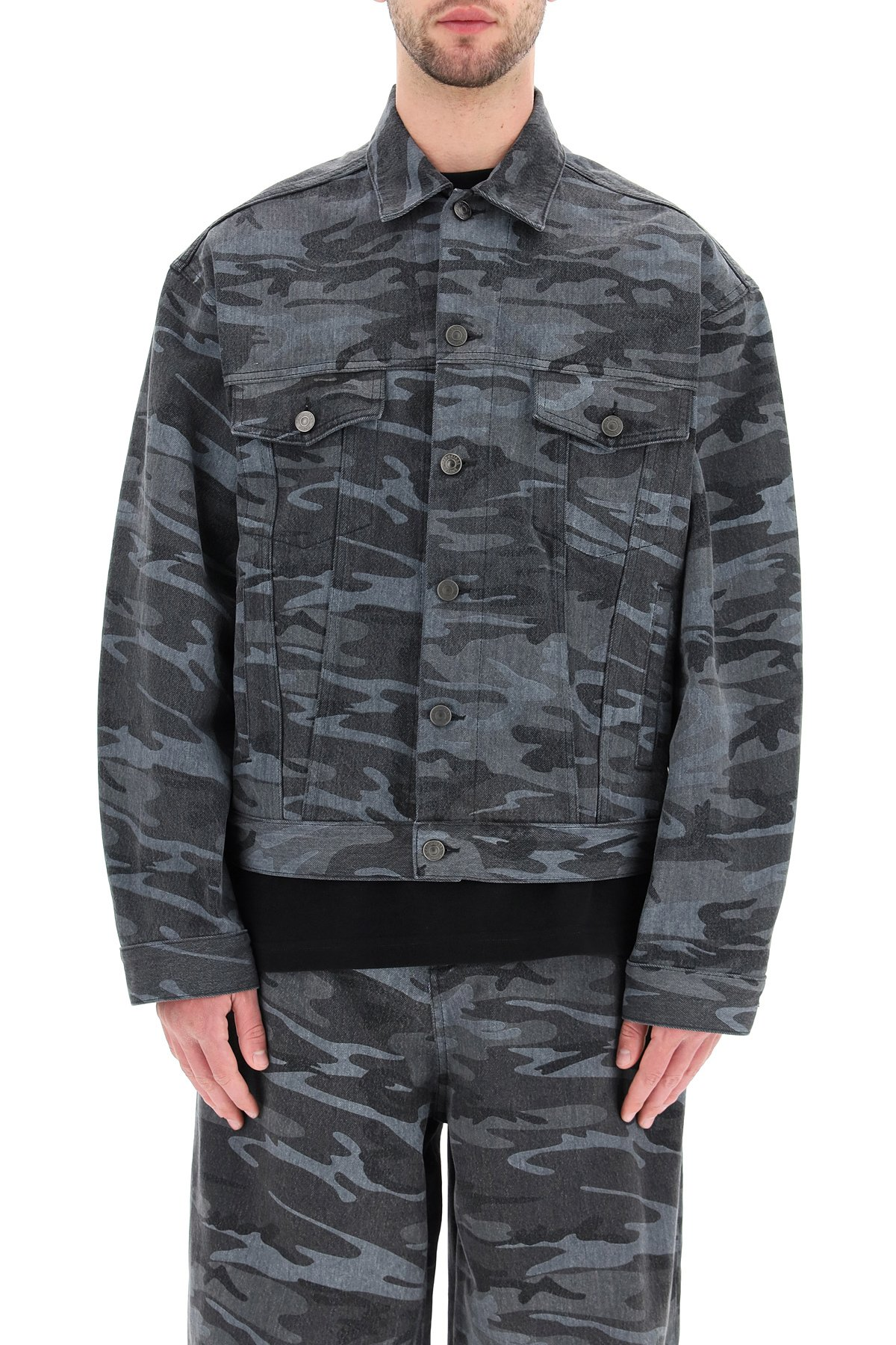 Balenciaga giacca camouflage in denim