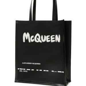Alexander mcqueen shopper logo graffiti jacquard