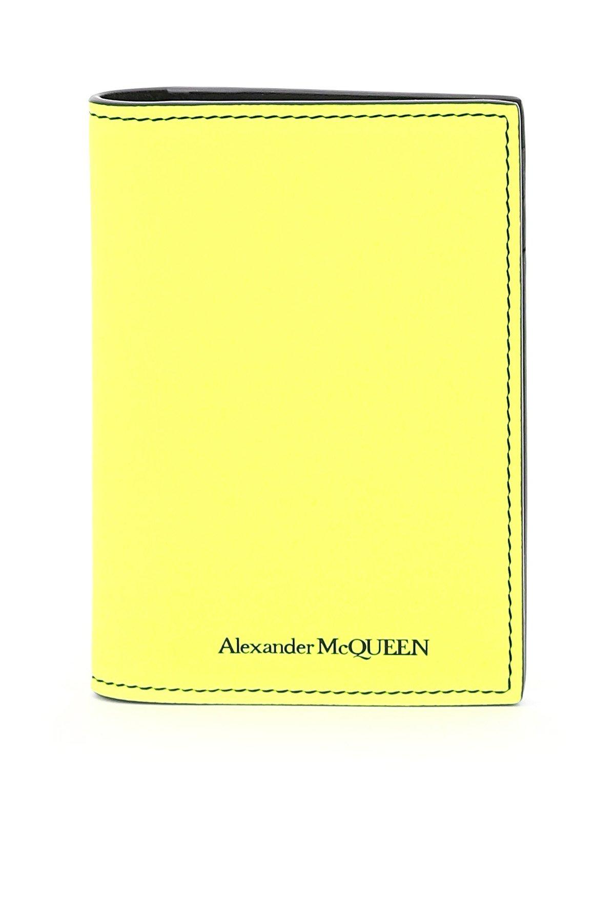 Alexander mcqueen portacarte bi-fold fluo