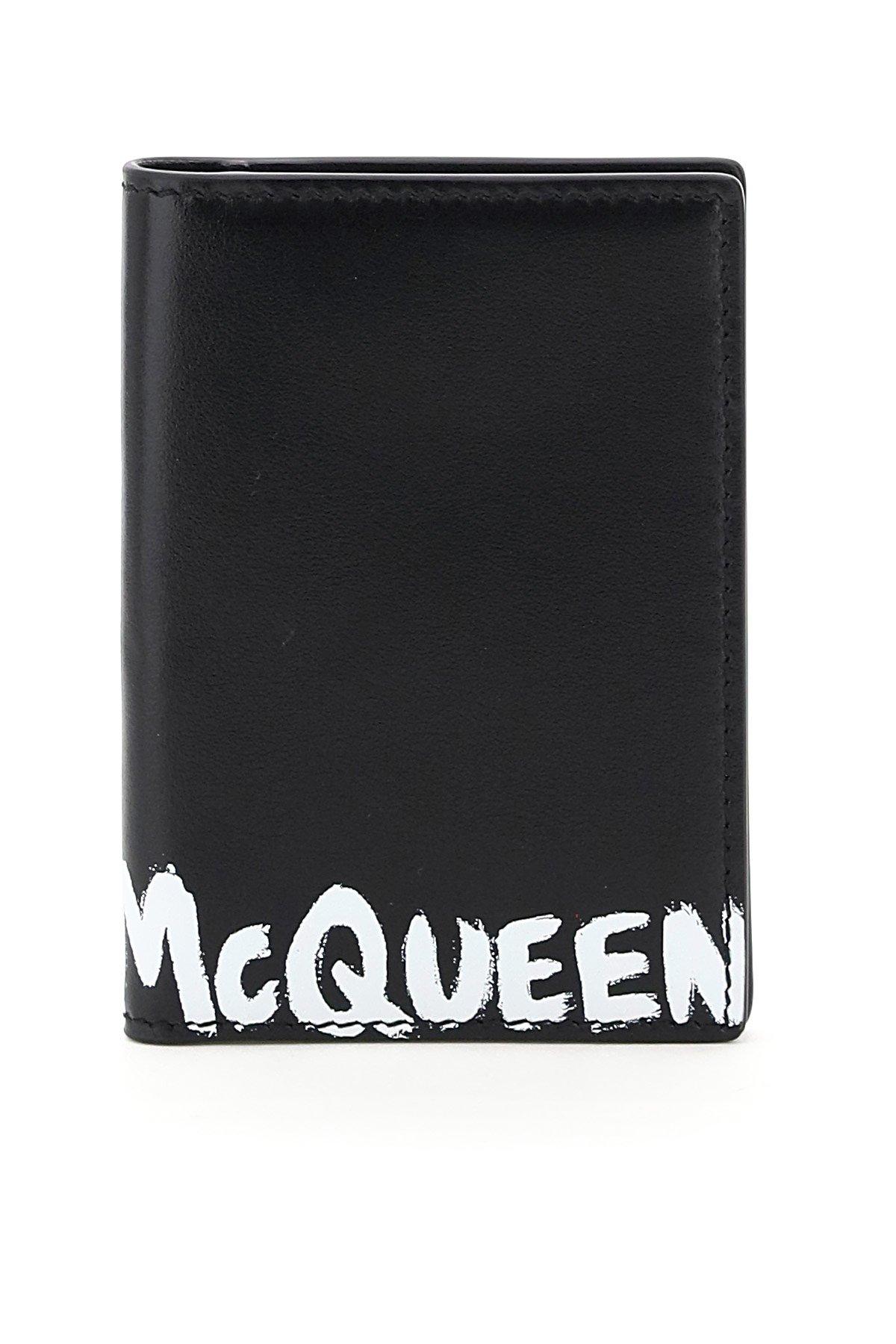 Alexander mcqueen portacarte bi-fold logo graffiti