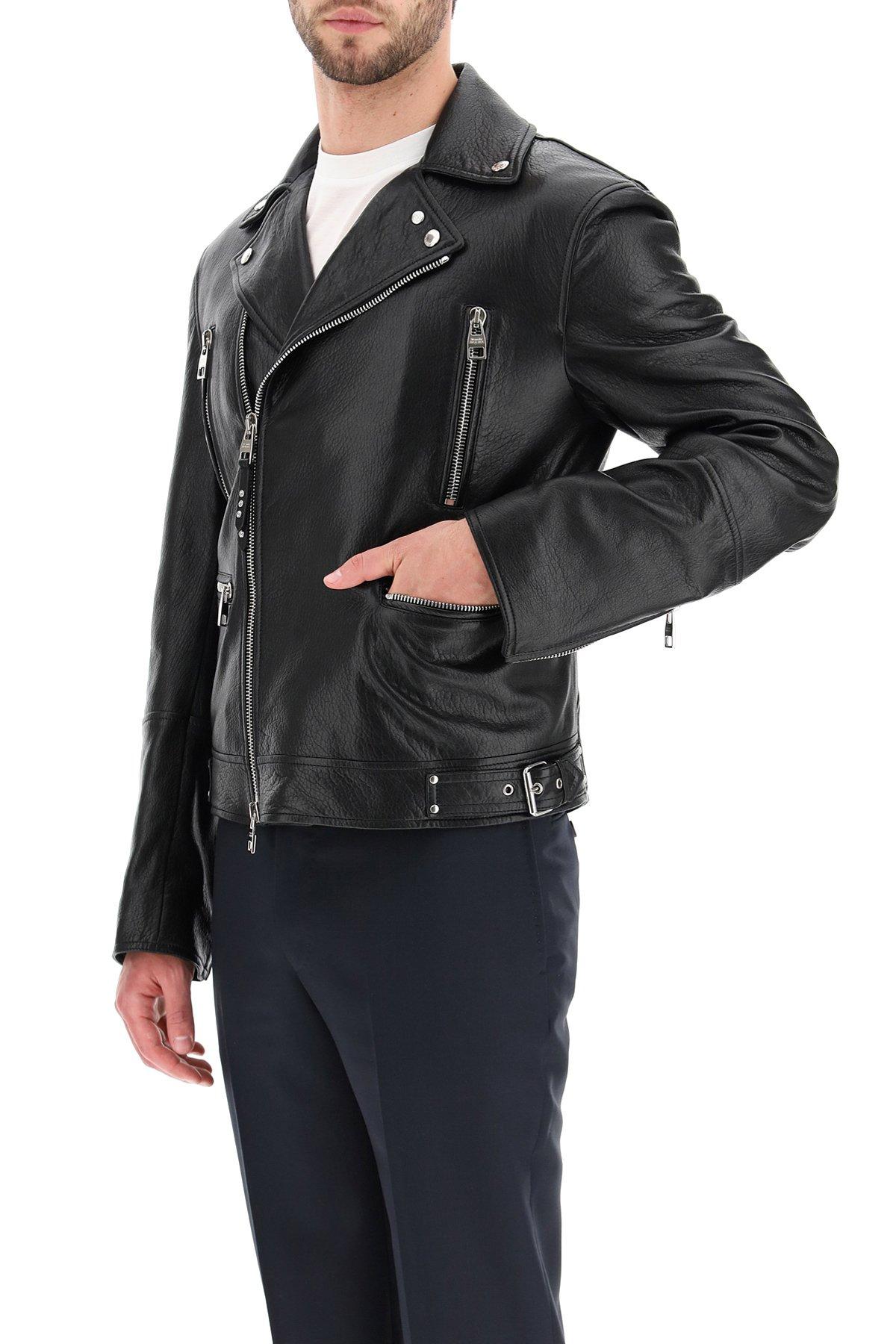 Alexander mcqueen giacca biker in pelle