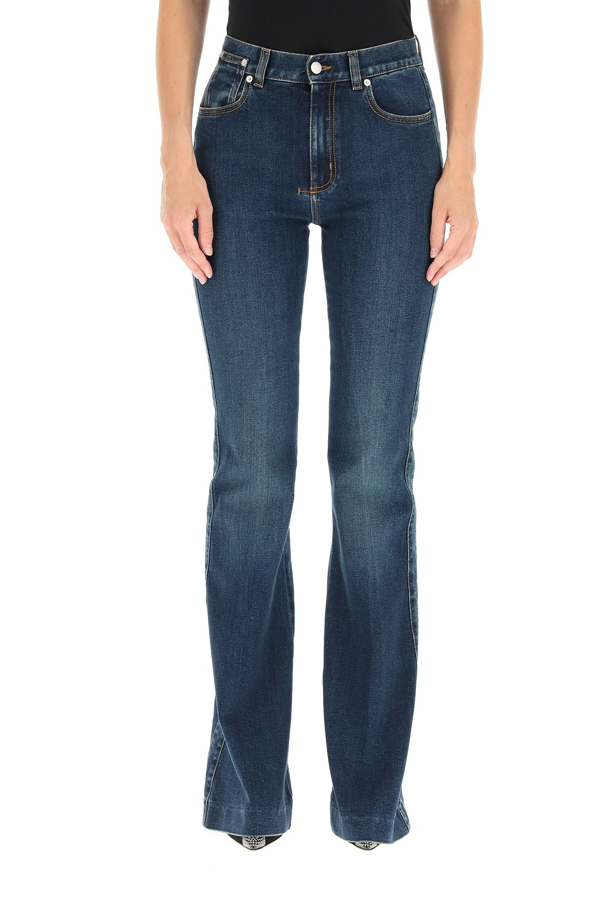 Alexander mcqueen jeans flare a vita alta