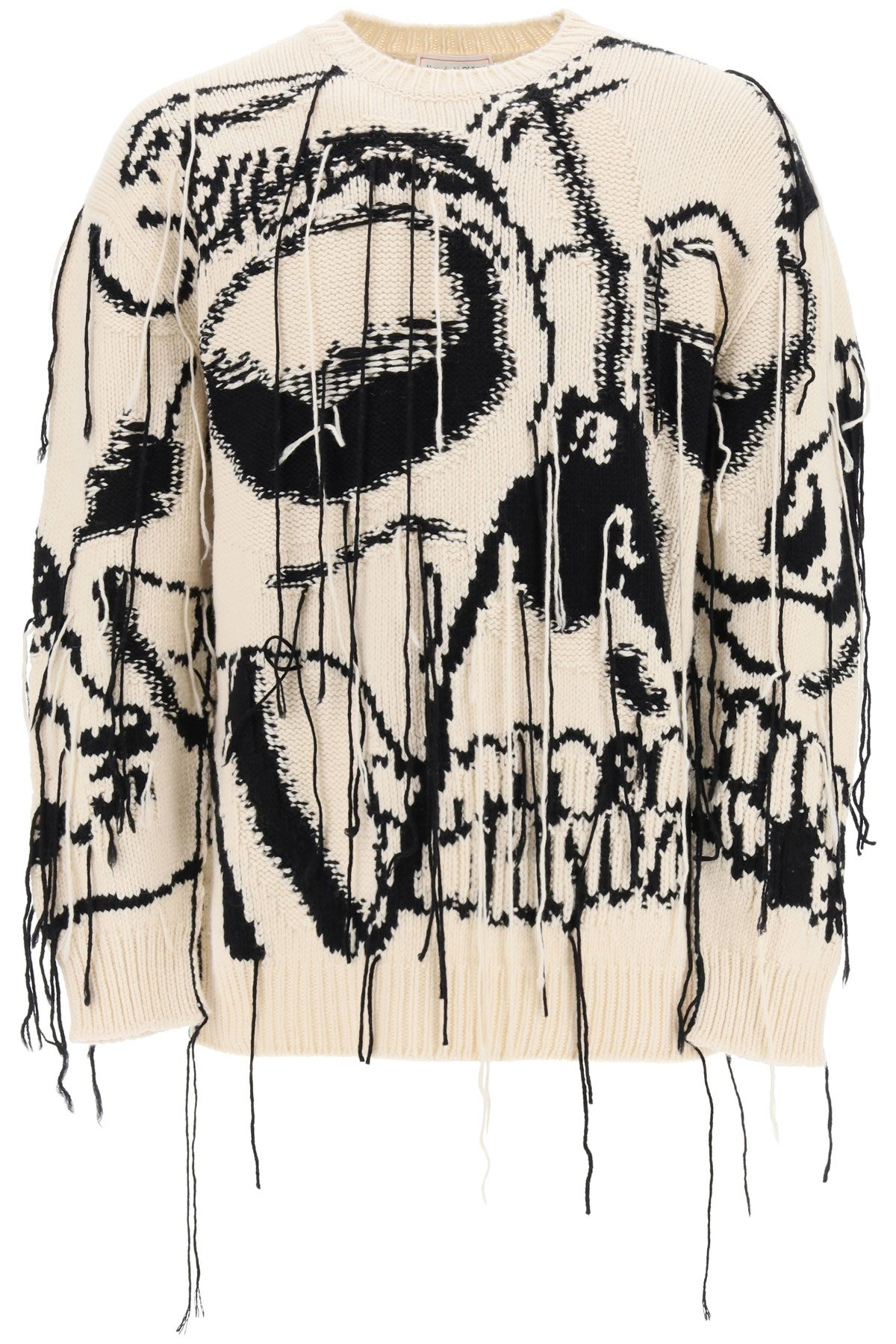 Alexander mcqueen pullover con skull intarsiato