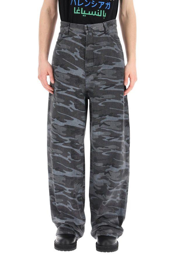 Balenciaga jeans baggy over camouflage