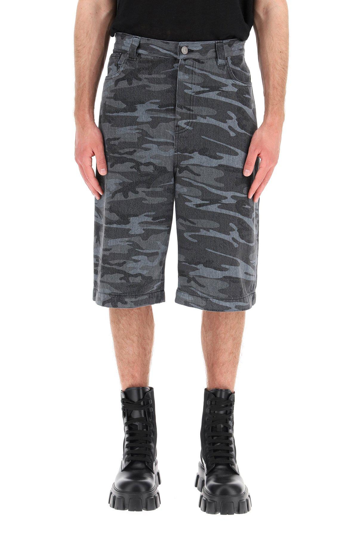 Balenciaga bermuda denim camouflage a gamba ampia