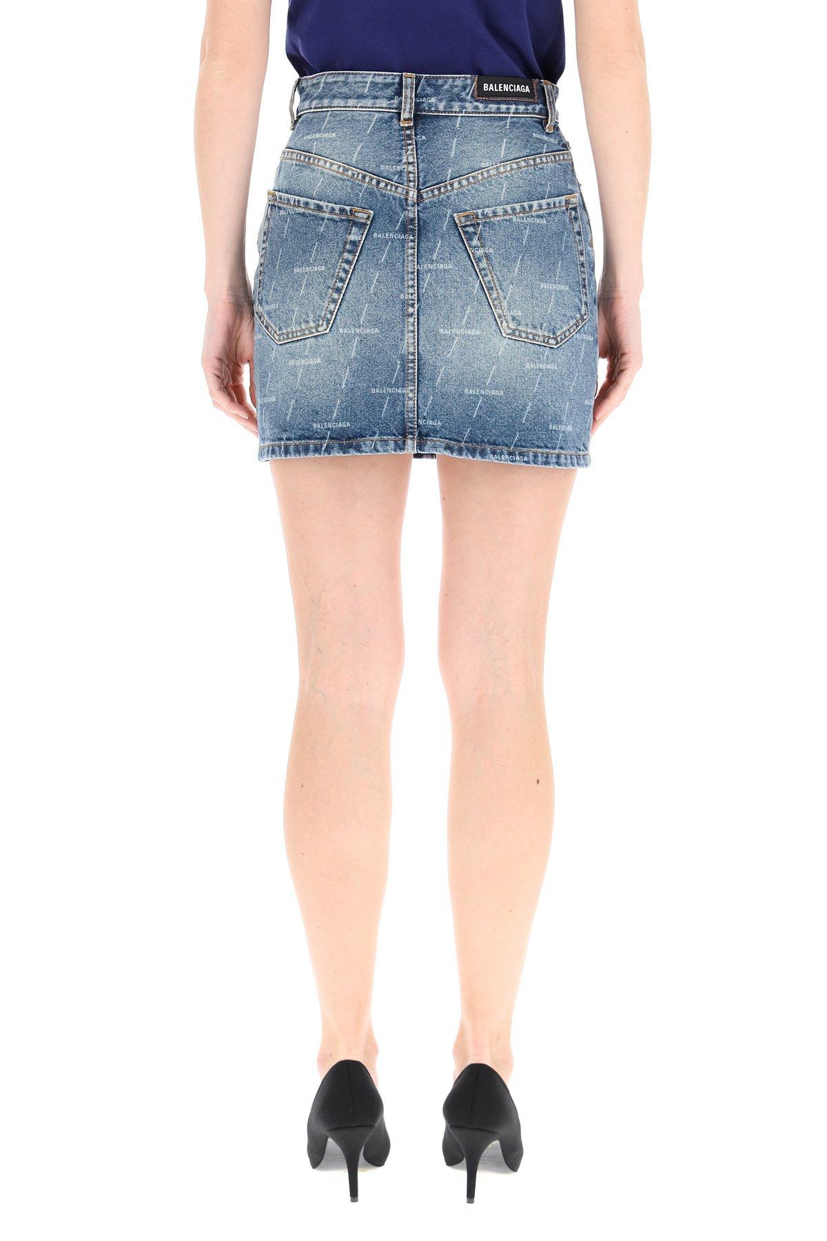 Balenciaga minigonna denim con logo lavorato al laser