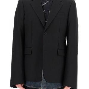 Balenciaga blazer over con denim a strati