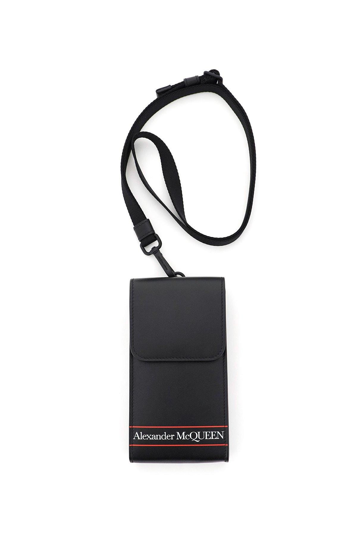 Alexander mcqueen phone pouch da collo logo selvedge