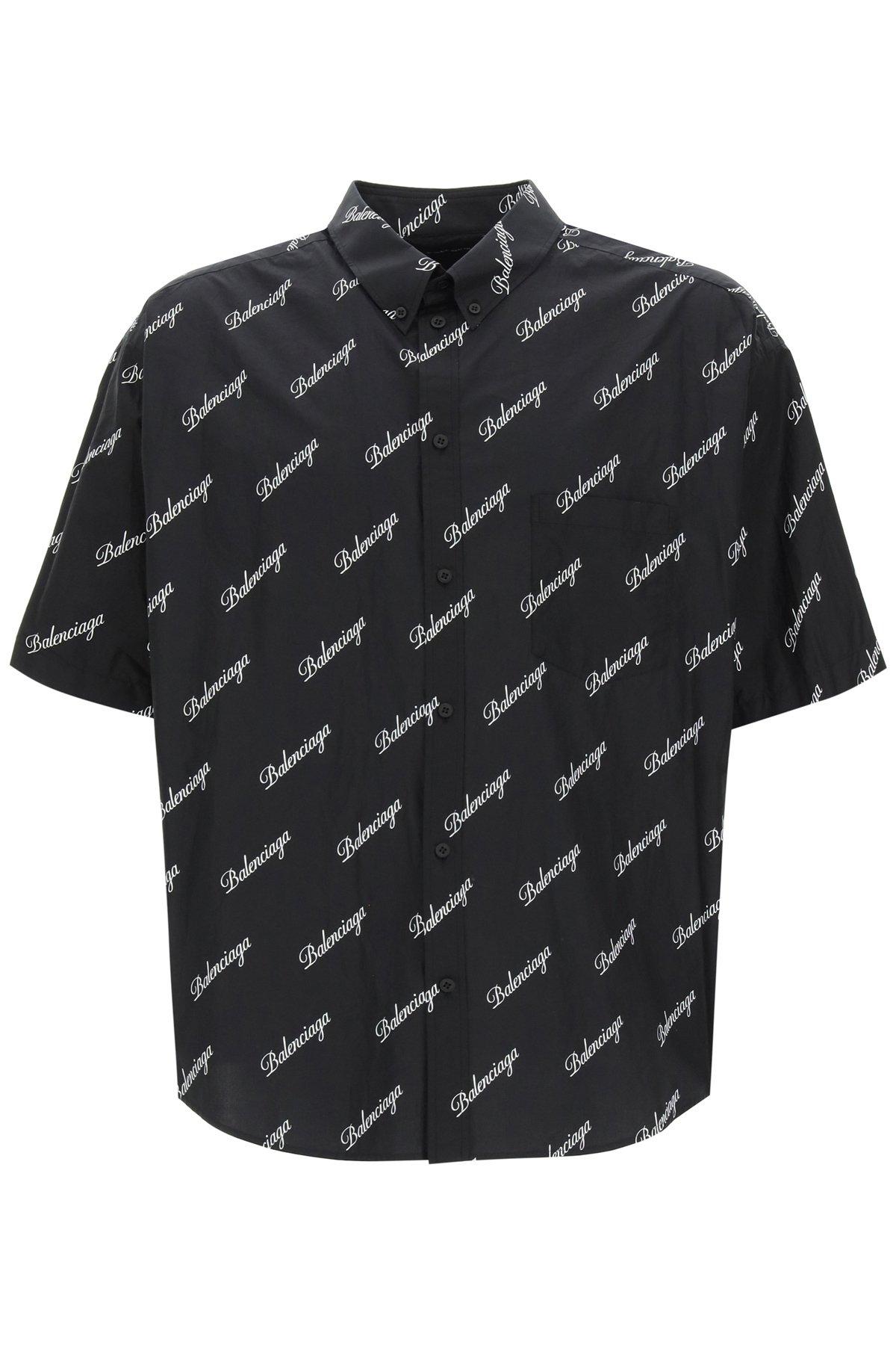 Balenciaga camicia button-down script logo