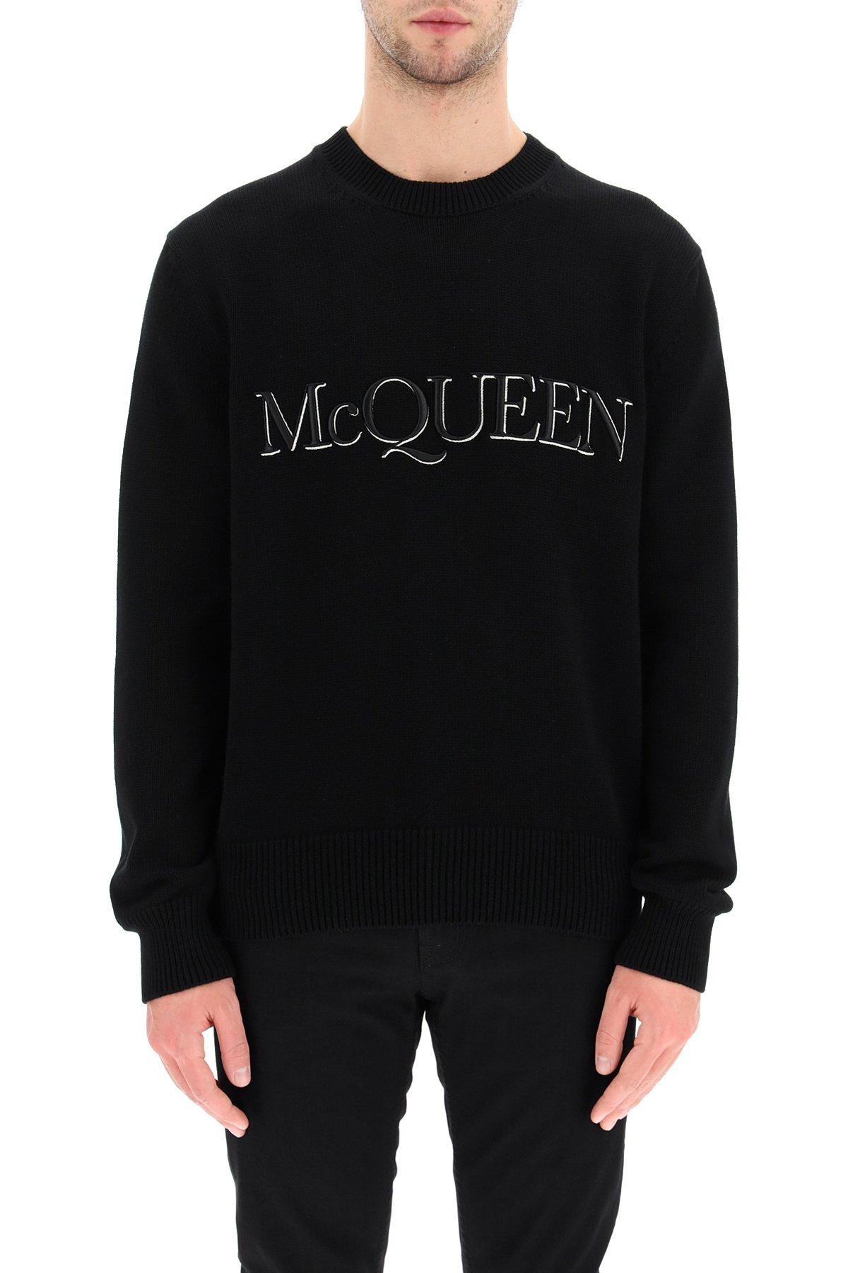 Alexander mcqueen pullover cotone con logo ricamato
