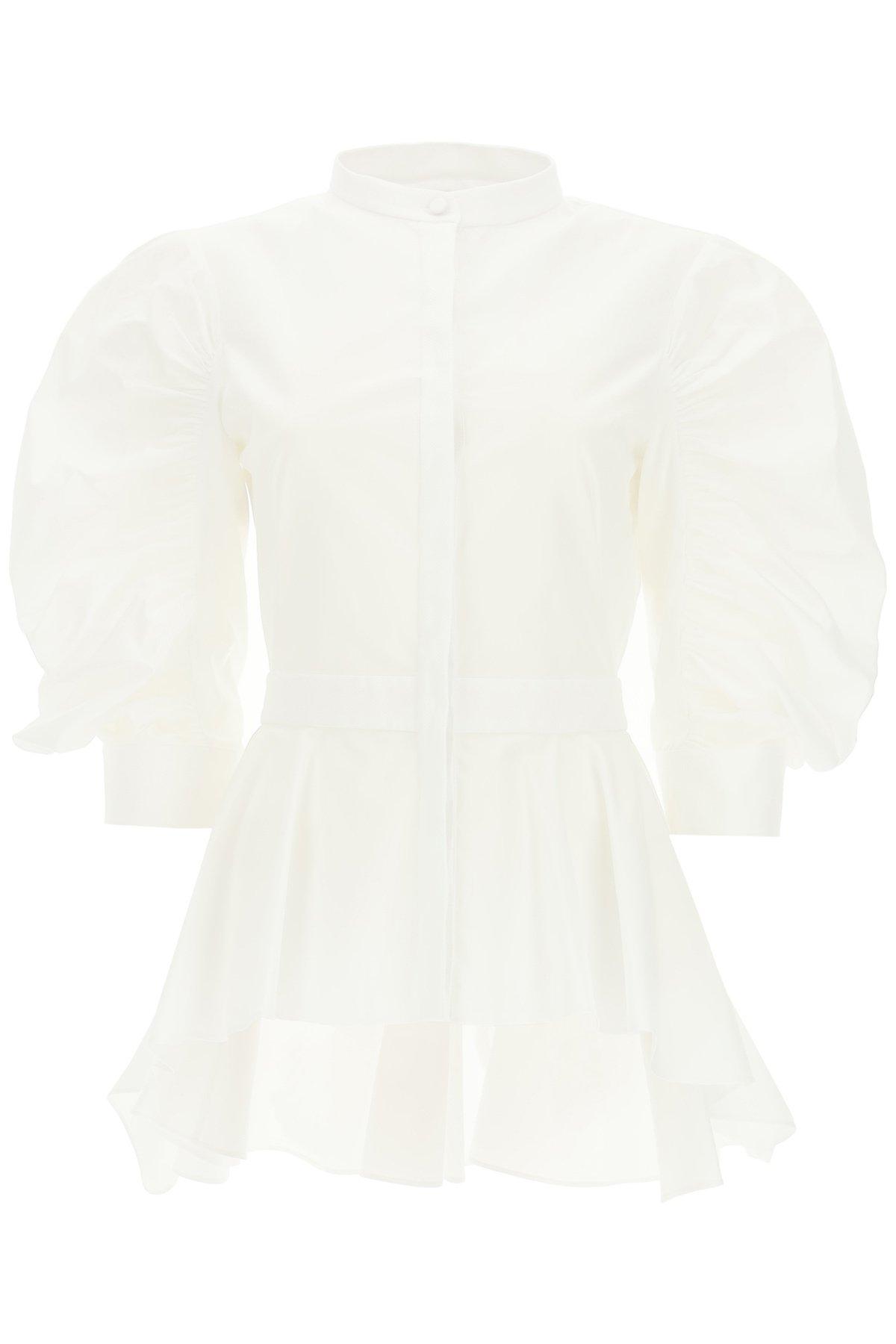 Alexander mcqueen camicia in cotone con peplum