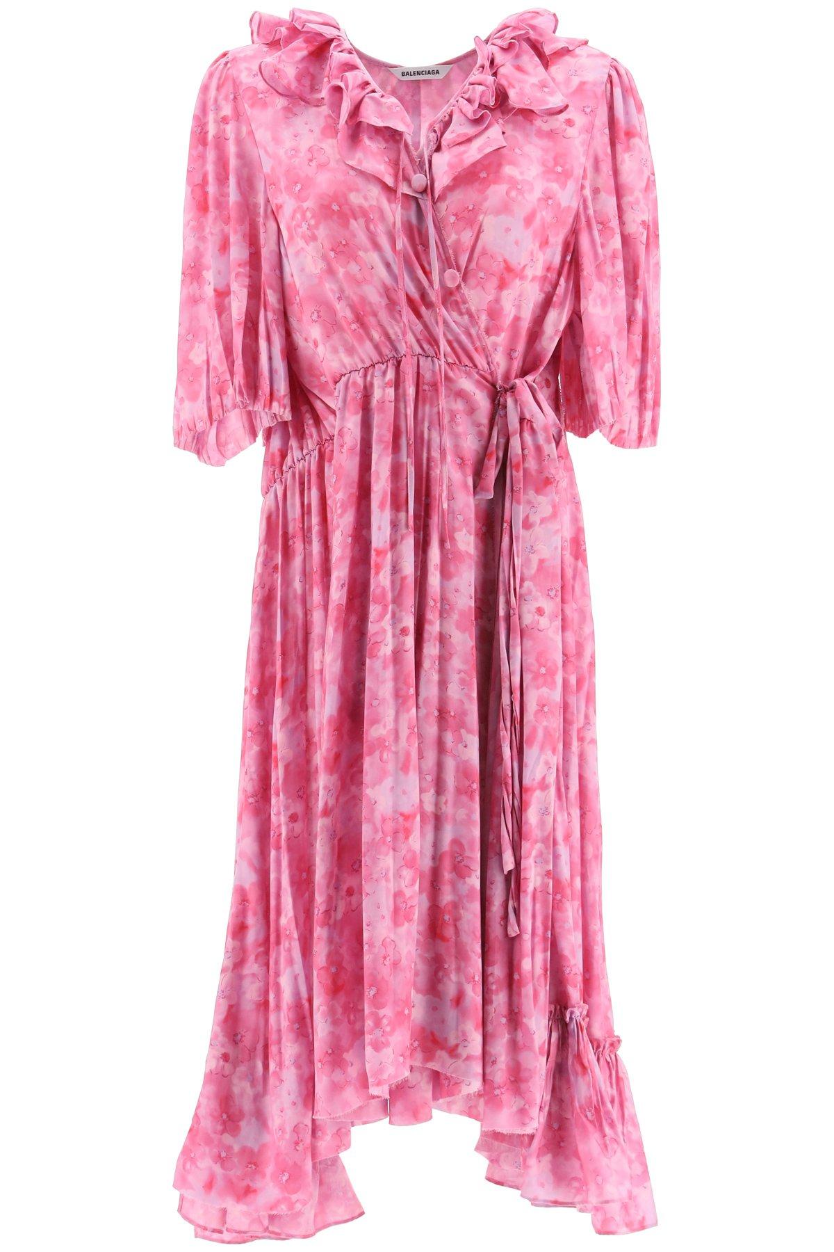 Balenciaga abito midi stampa pansy acquerello