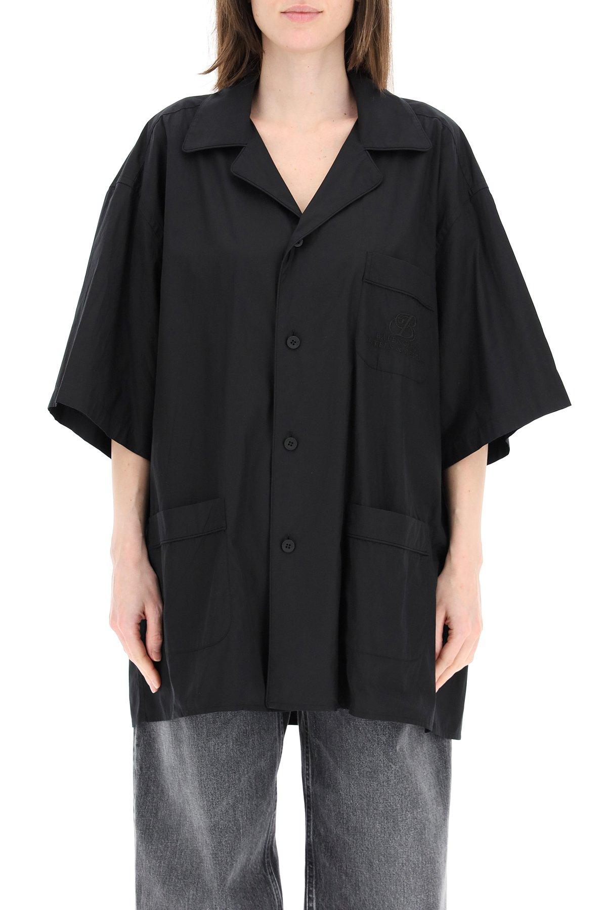 Balenciaga camicia over in popeline con ricamo logo