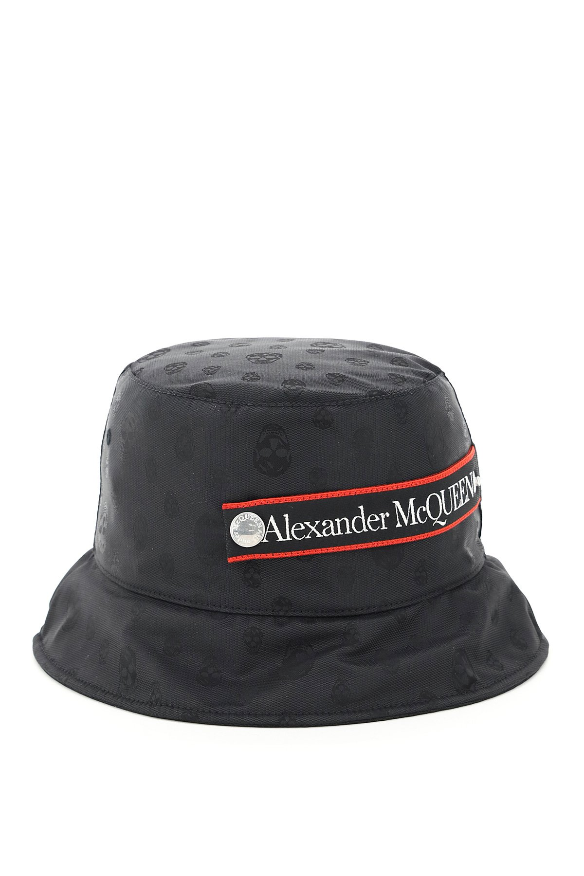 Alexander mcqueen cappello jacquard skull nastro logo
