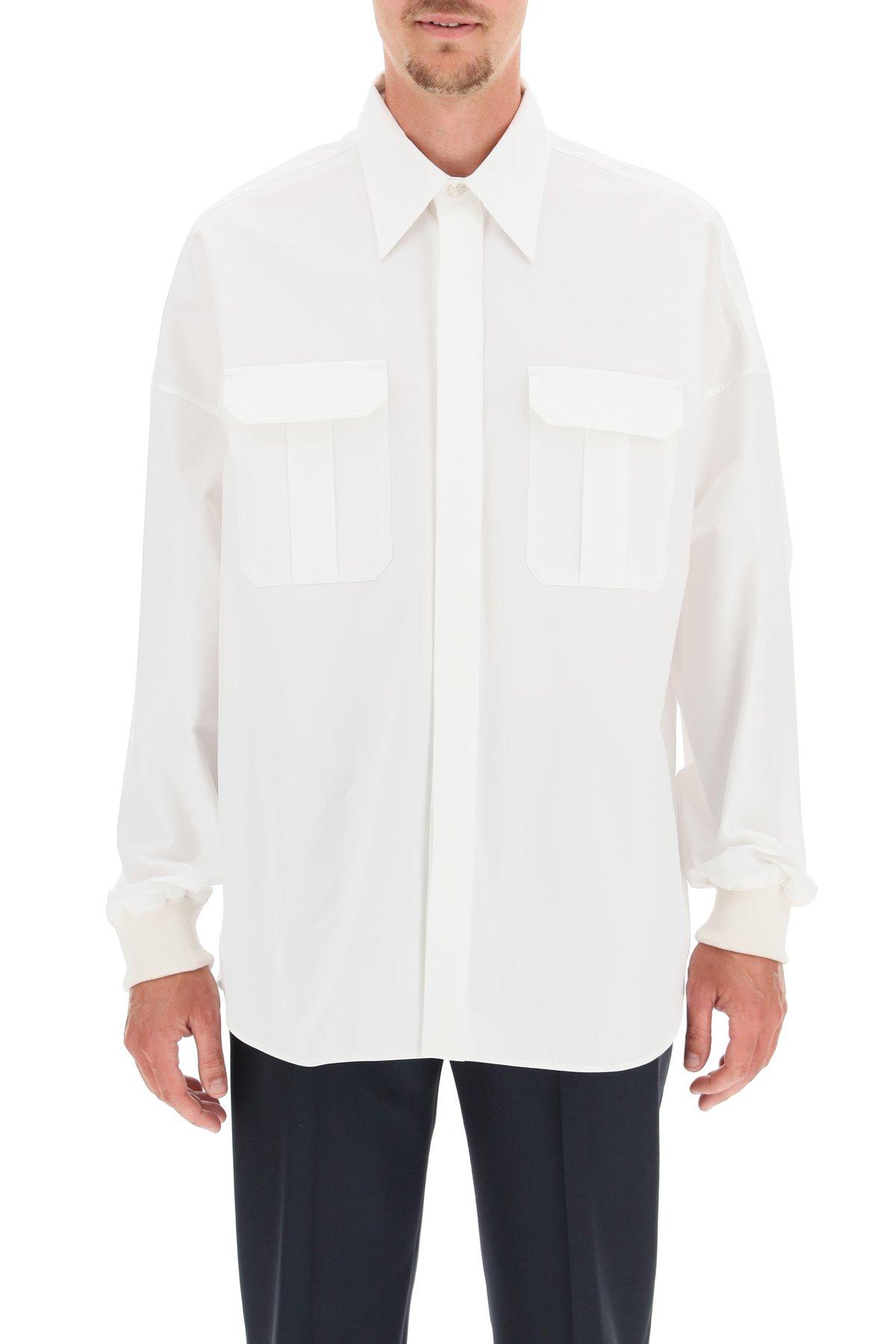 Alexander mcqueen camicia oversize in popeline con polsini elasticizzati