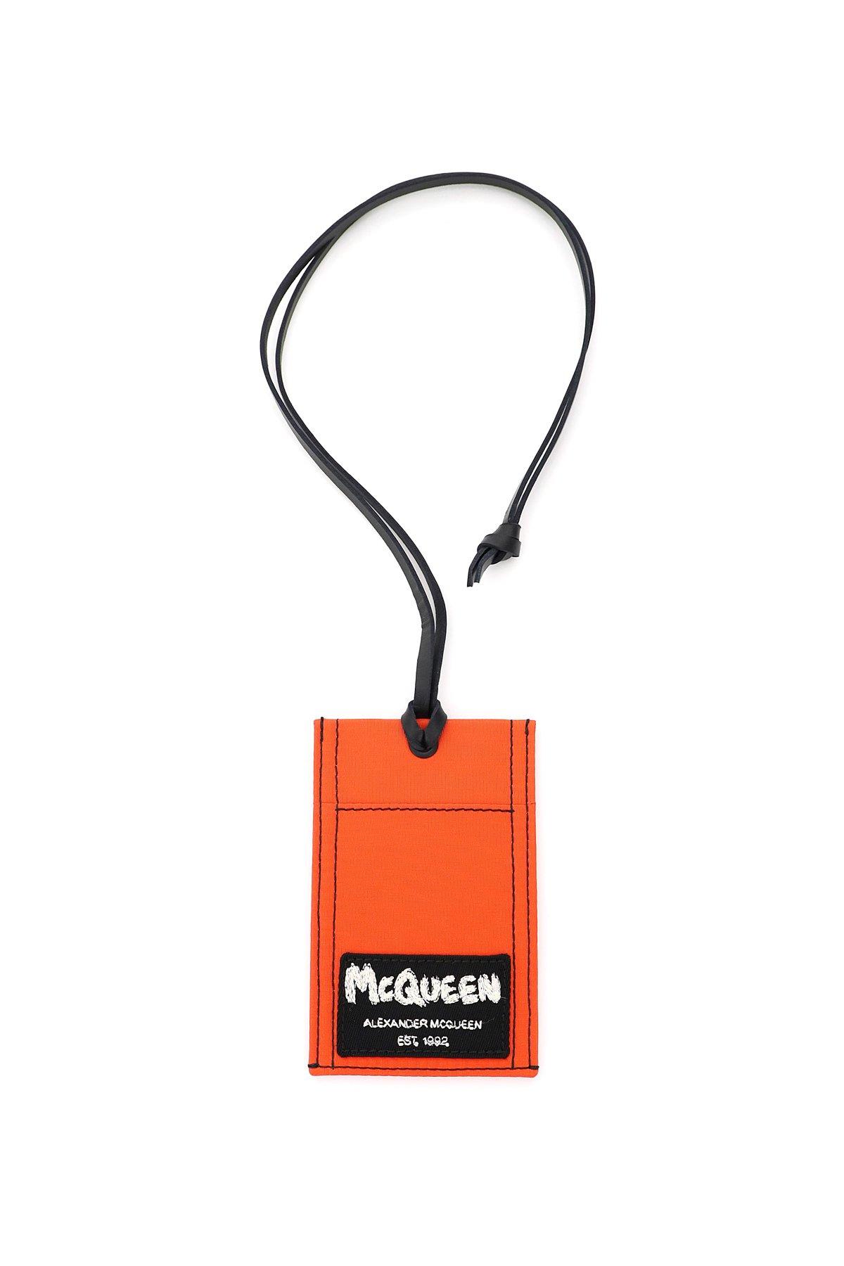 Alexander mcqueen portacarte necklace ricamo logo graffiti