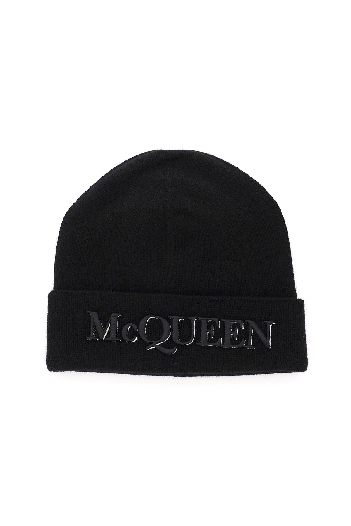 Alexander mcqueen cappello beanie con logo frontale