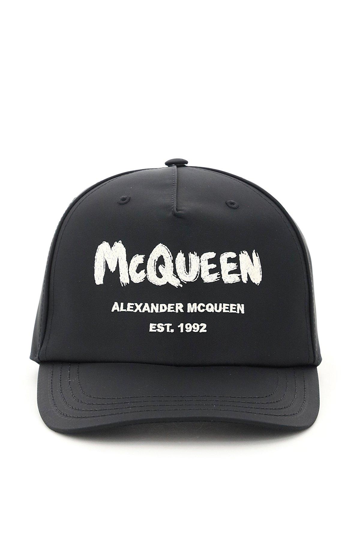 Alexander mcqueen cappello baseball logo graffiti