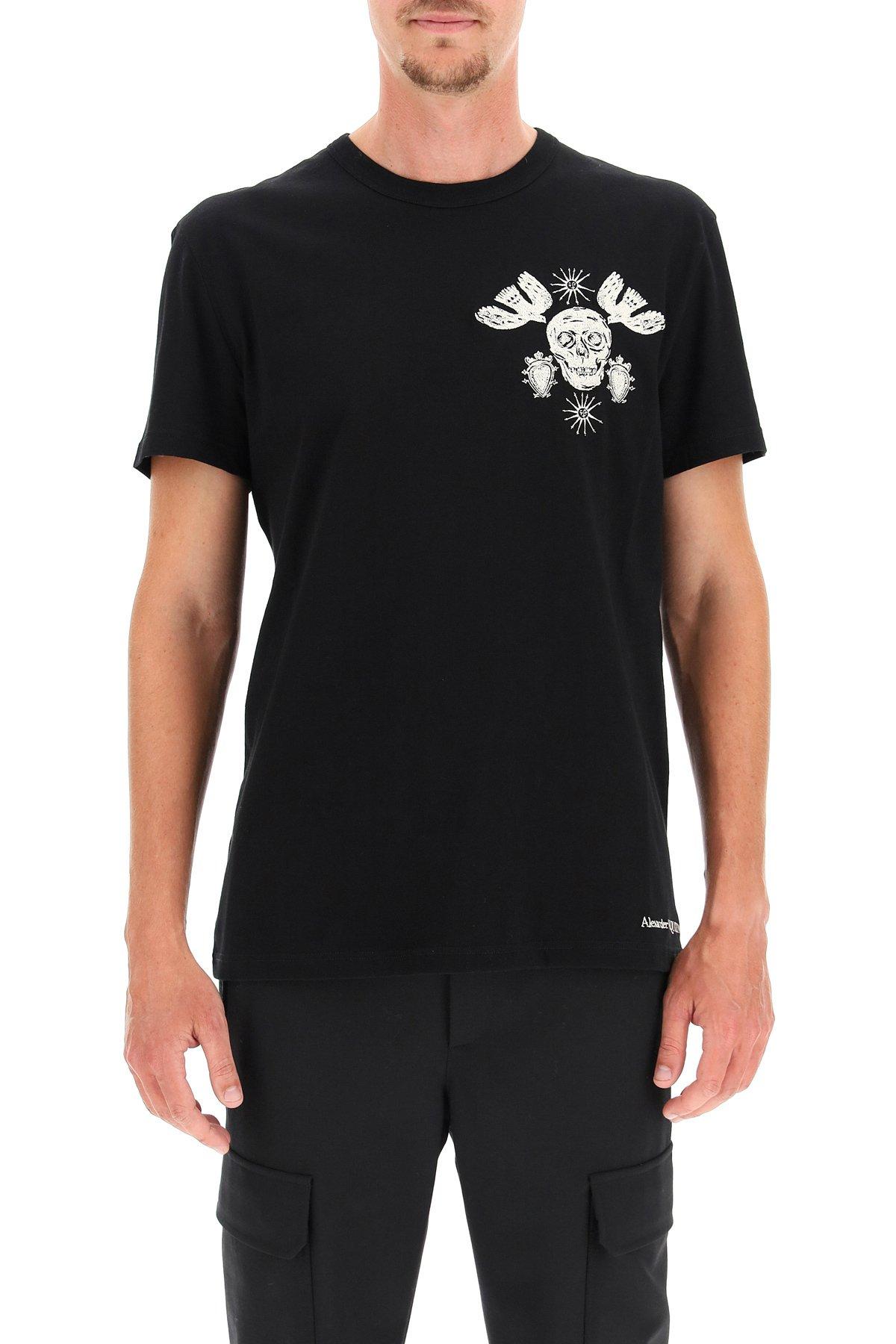 Alexander mcqueen t-shirt con ricamo