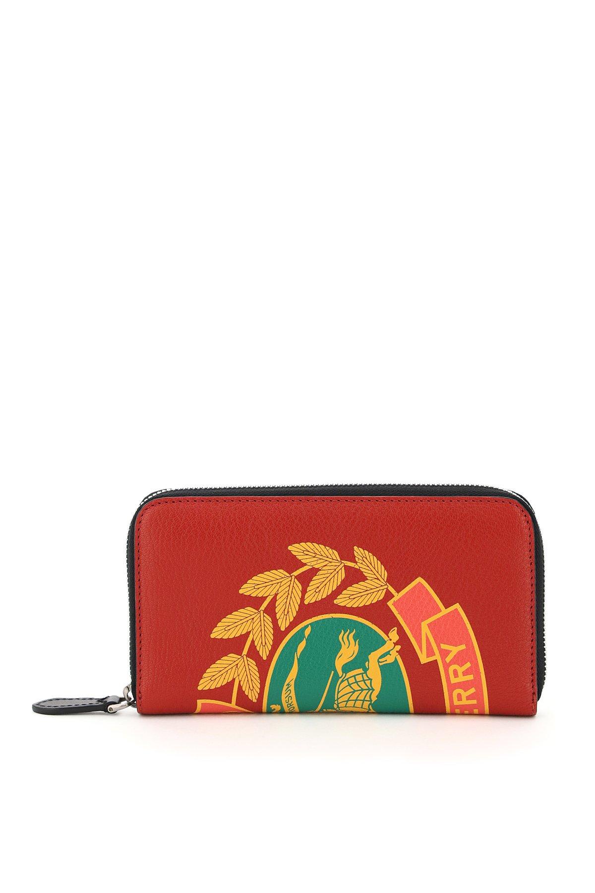 Burberry portafoglio zip around stemma d'archivio