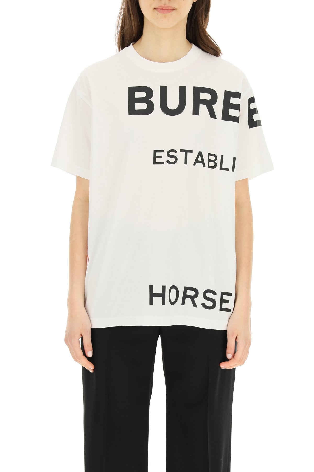 Burberry t-shirt over con stampa horseferry