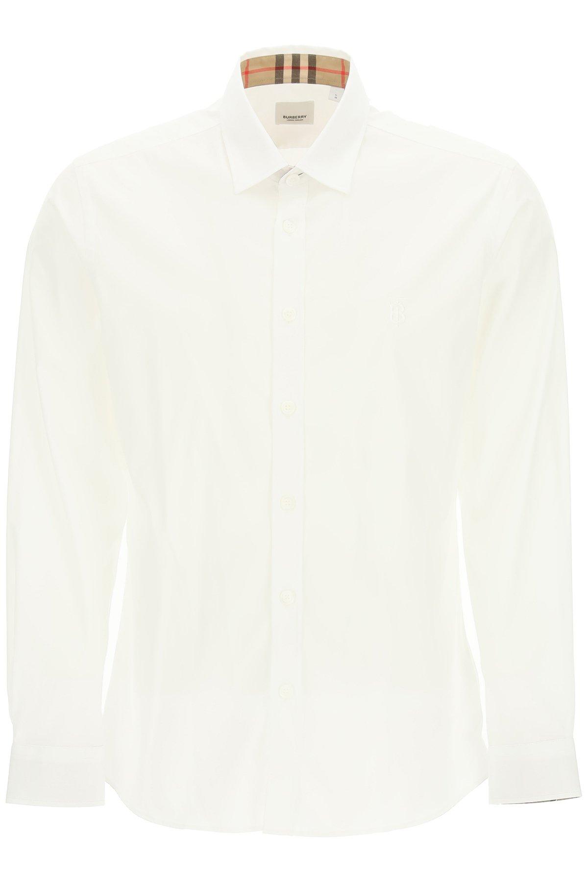 Burberry camicia slim con monogramma