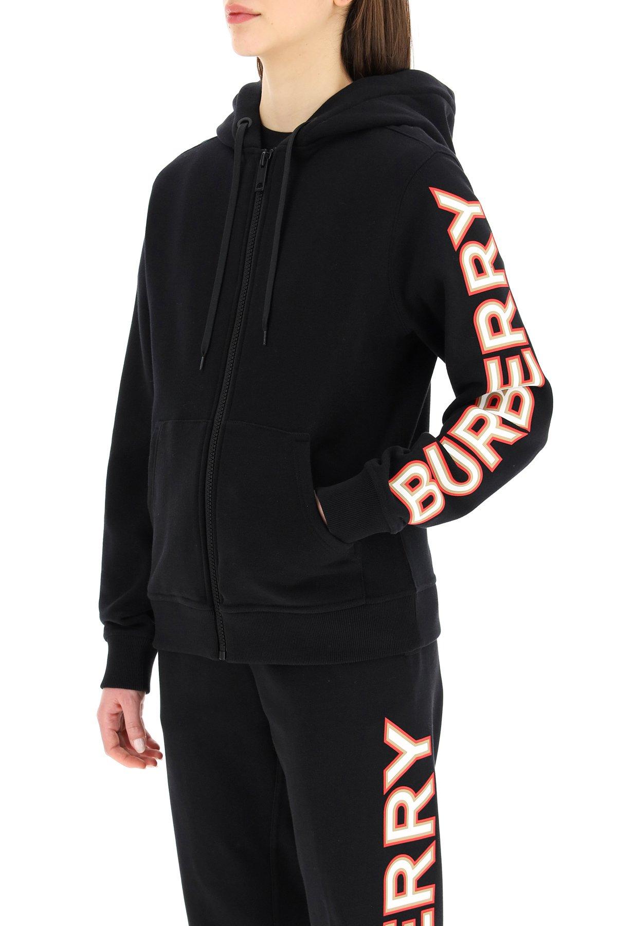 Burberry felpa rylee con cappuccio e logo stampato
