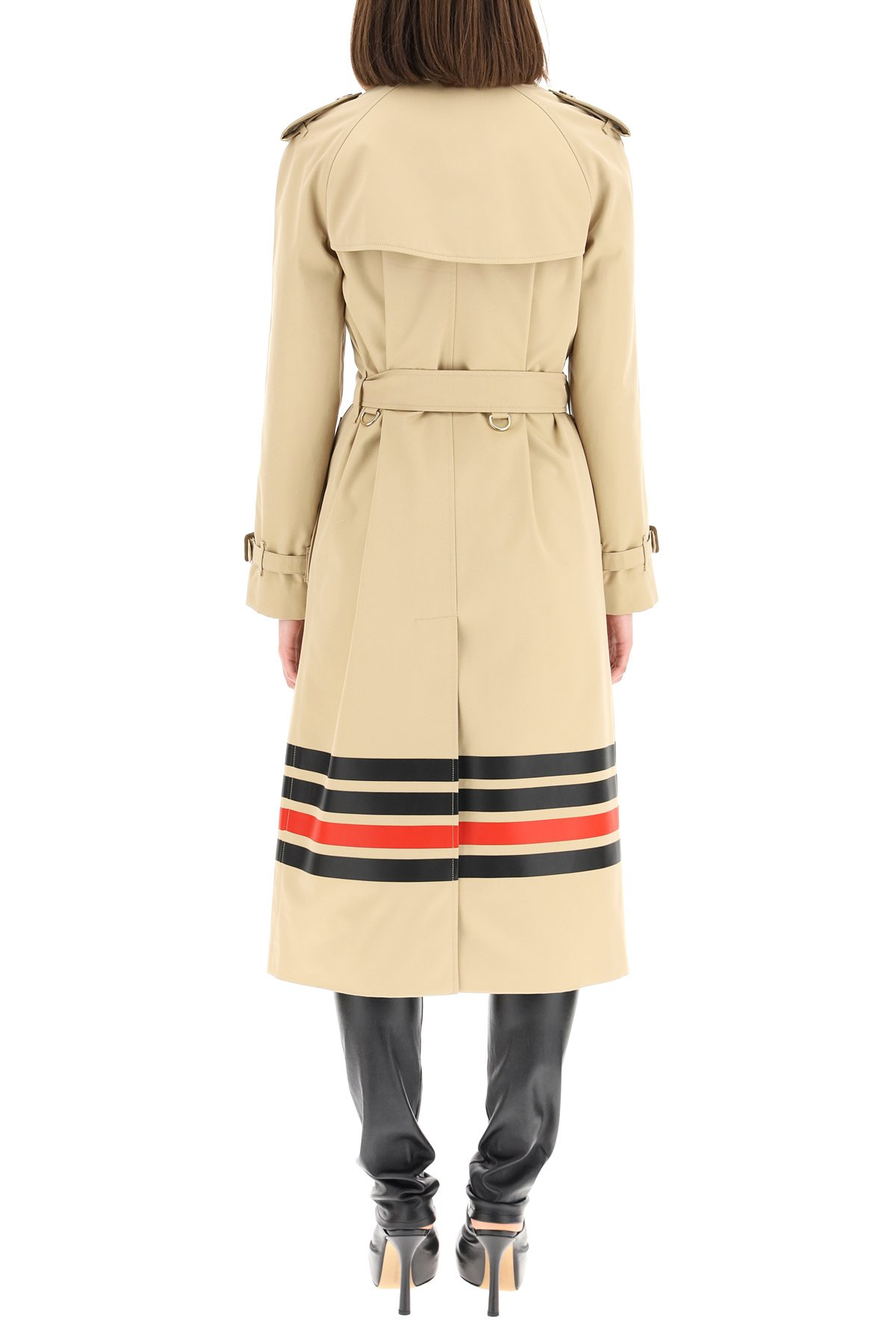 Burberry trench coat waterloo con motivo a righe